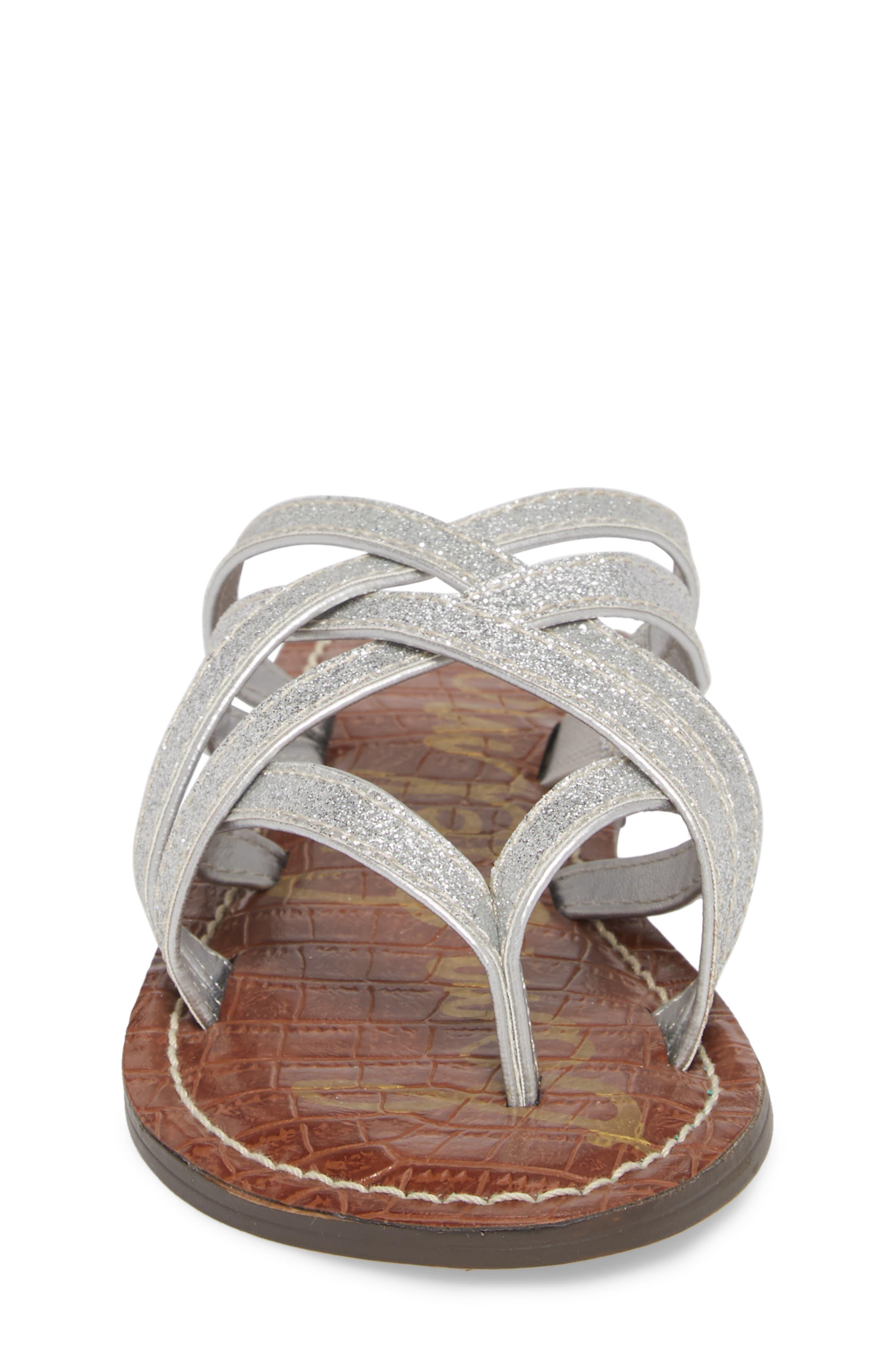 Georgette Glitter Flat Sandal,                             Alternate thumbnail 4, color,                             040