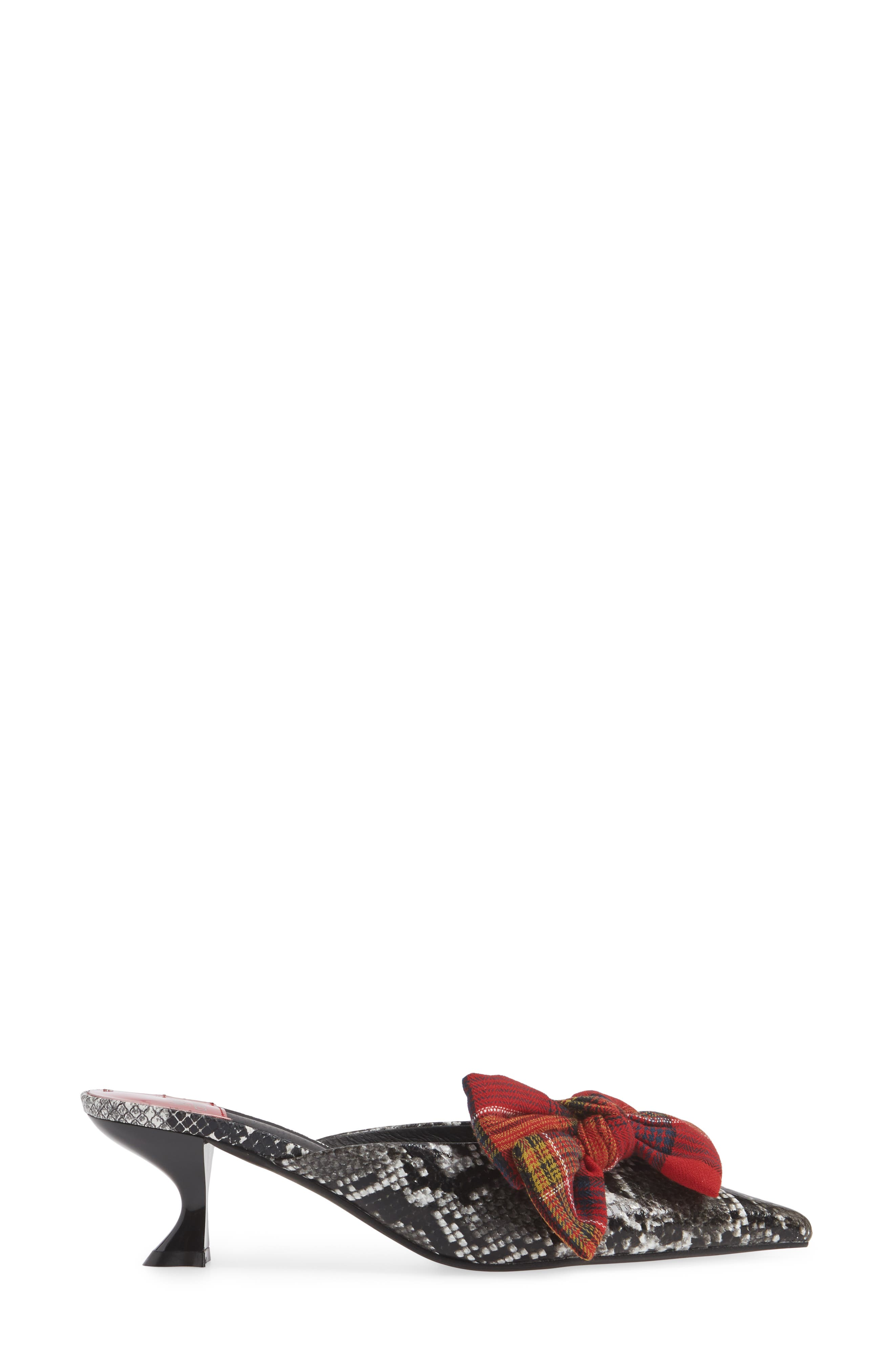 Adorn Pointy Toe Mule,                             Alternate thumbnail 3, color,                             GREY BLACK SNAKE / RED PLAID