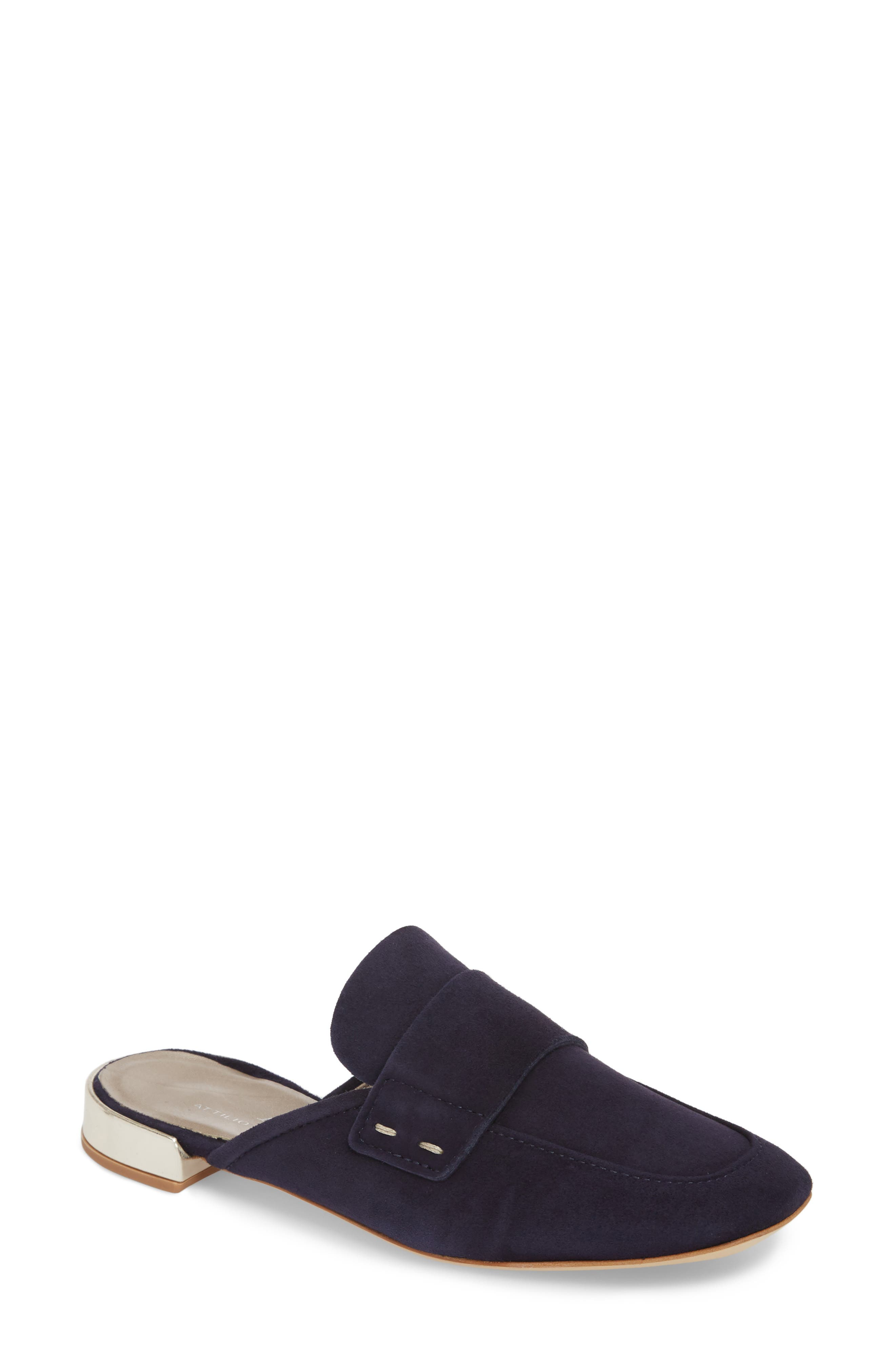 Penny Keeper Mule,                             Main thumbnail 1, color,                             BLUE SUEDE
