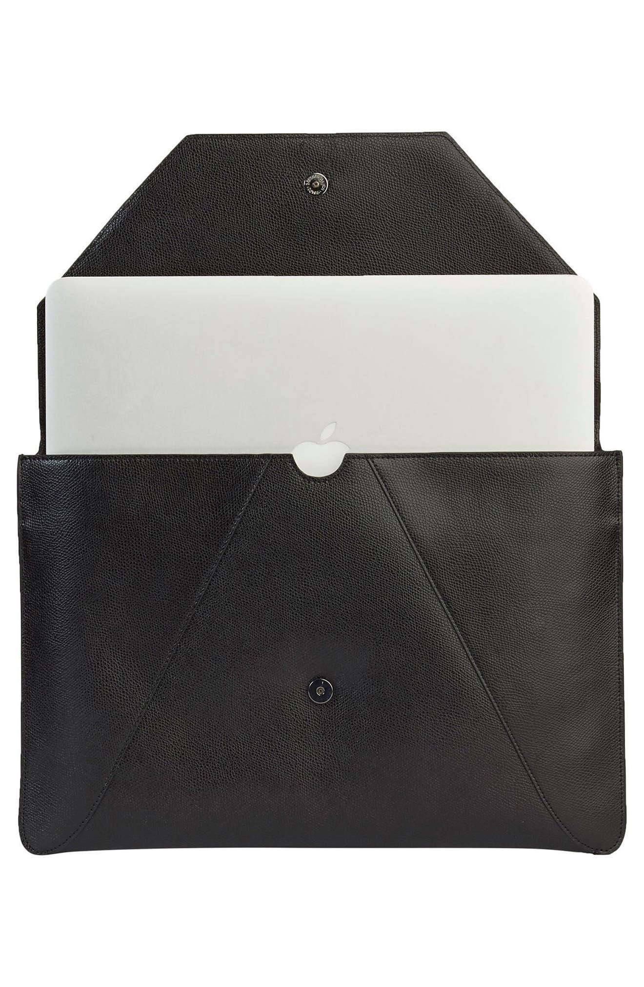 Pebbled Leather Envelope Clutch,                             Alternate thumbnail 3, color,                             NOIR