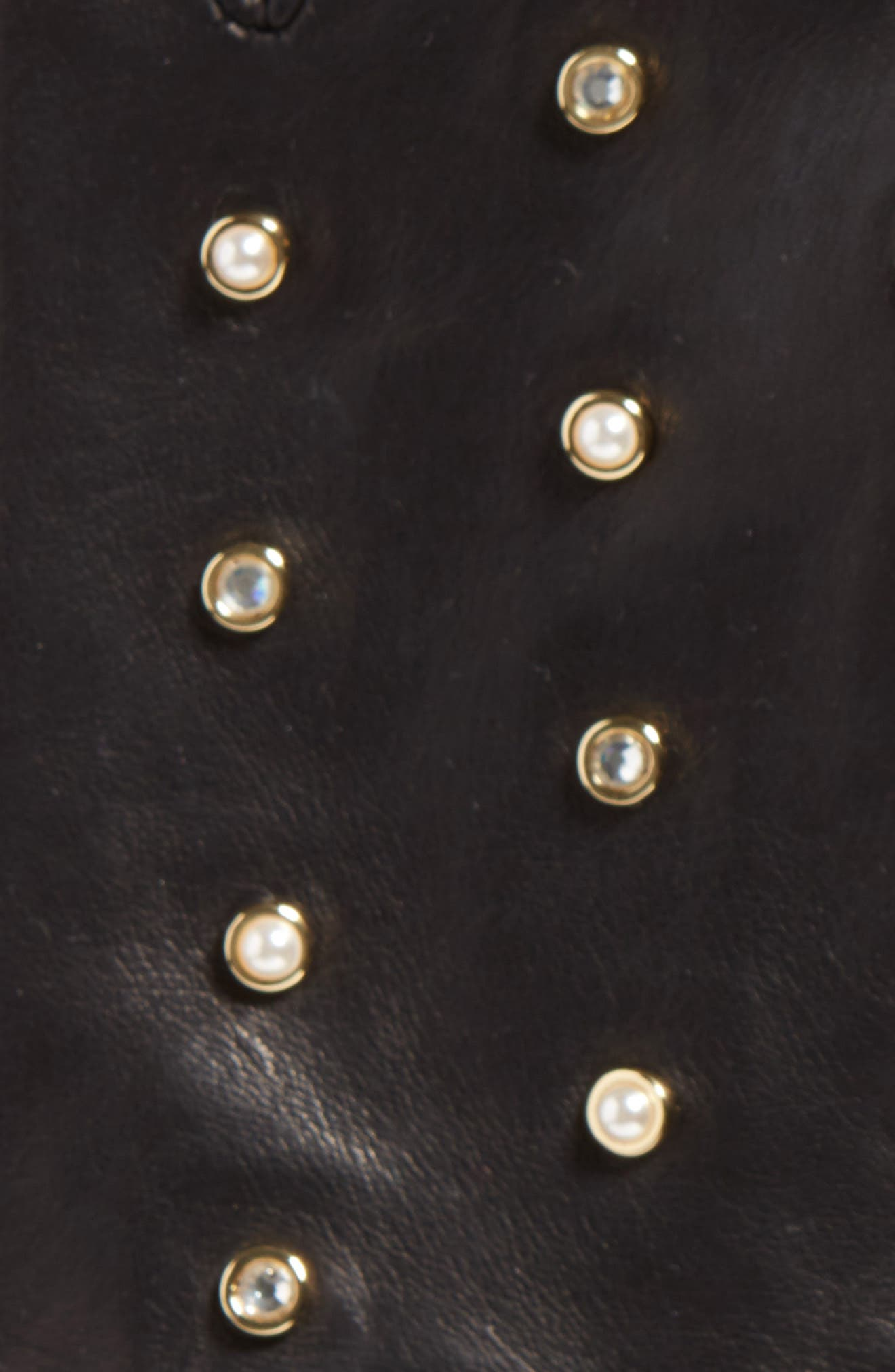 Imitation Pearl & Crystal Scattered Leather Gloves,                             Alternate thumbnail 2, color,                             001