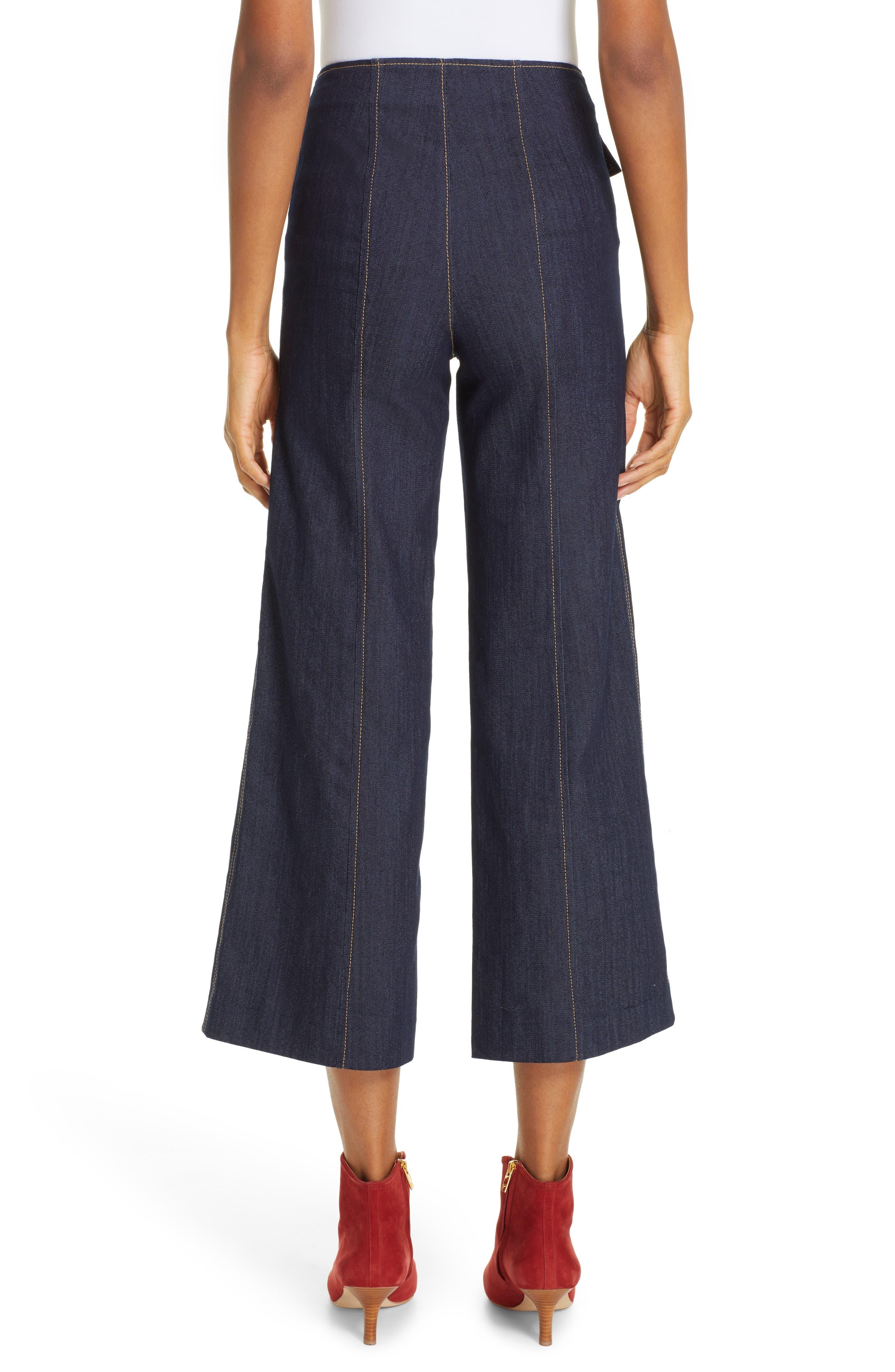 Azure Crop Wide Leg Jeans,                             Alternate thumbnail 2, color,                             INDIGO