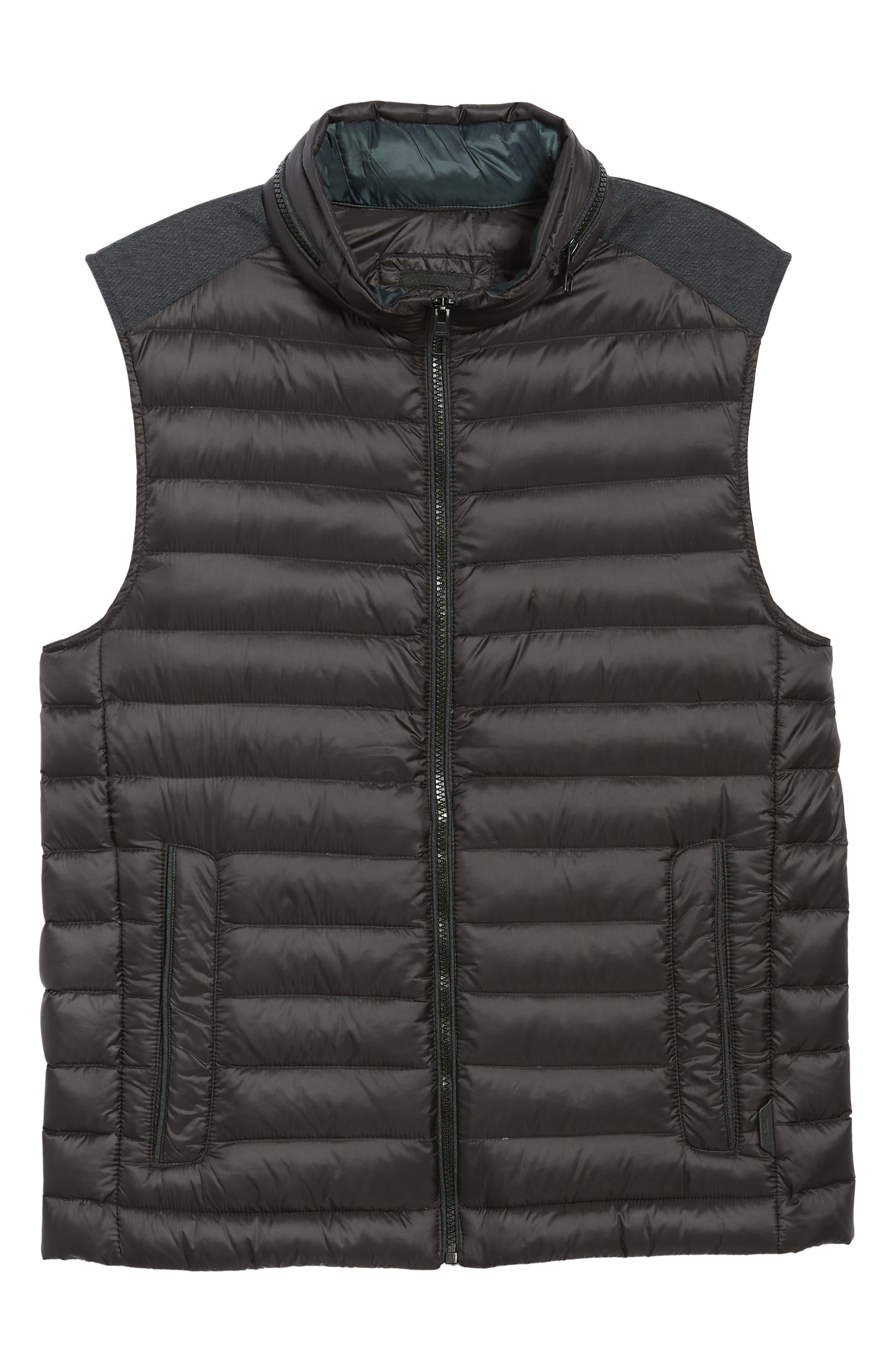 Down Puffer Hooded Vest,                             Alternate thumbnail 5, color,                             BLACK