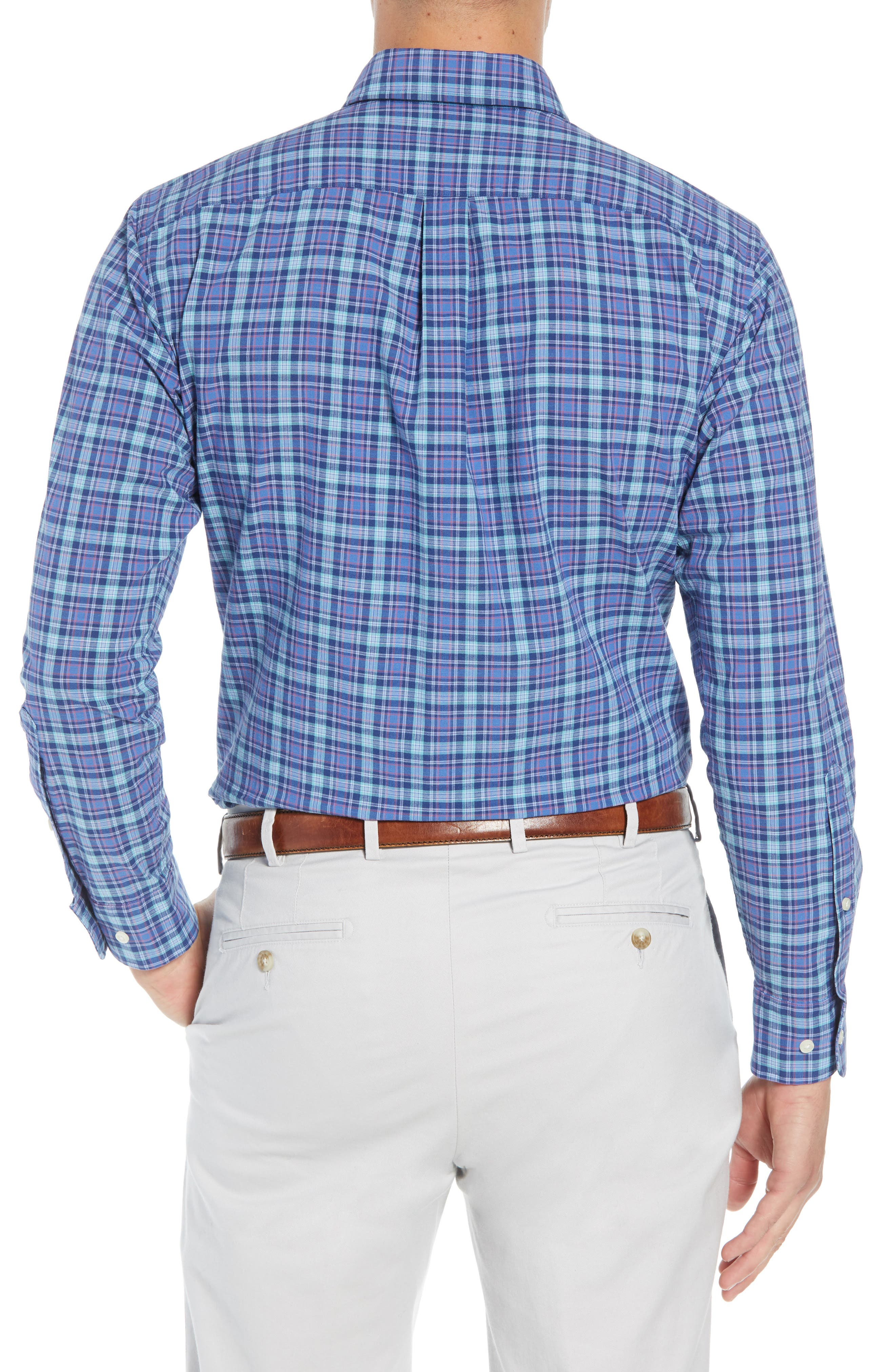 Fisherman's Wharf Regular Fit Plaid Sport Shirt,                             Alternate thumbnail 3, color,                             BLUE