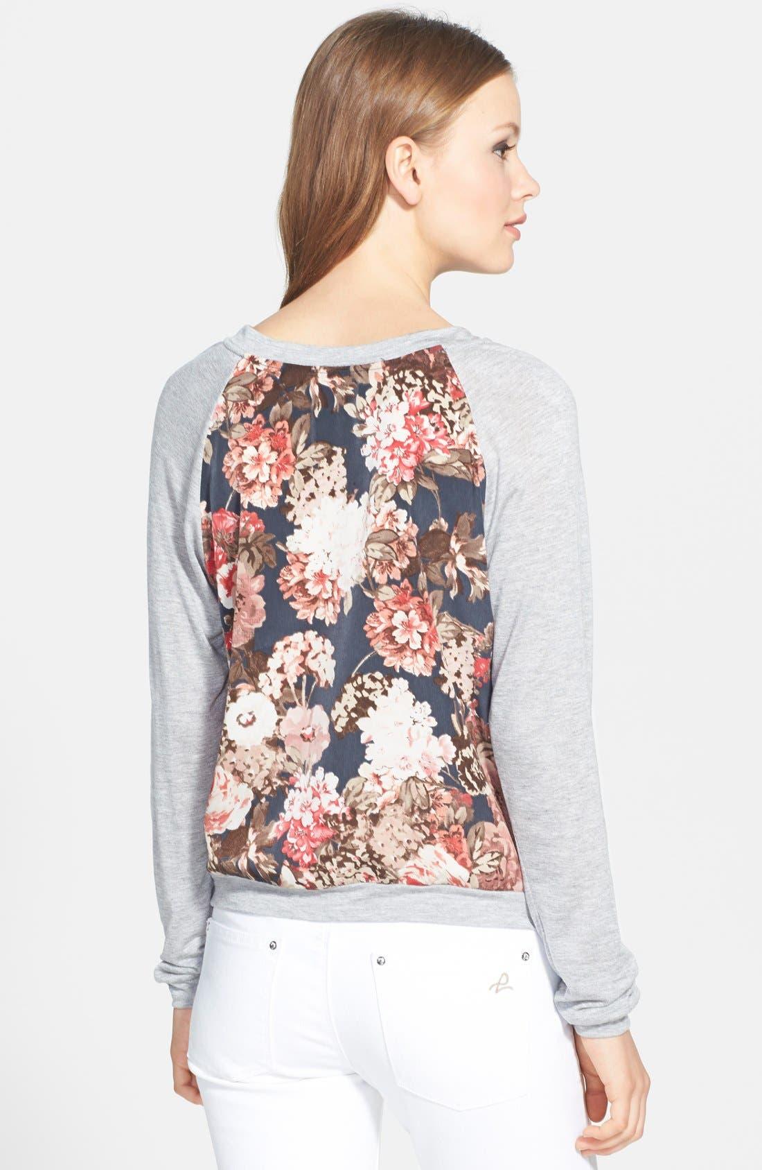 Floral Print Raglan Sweatshirt,                             Alternate thumbnail 2, color,                             020