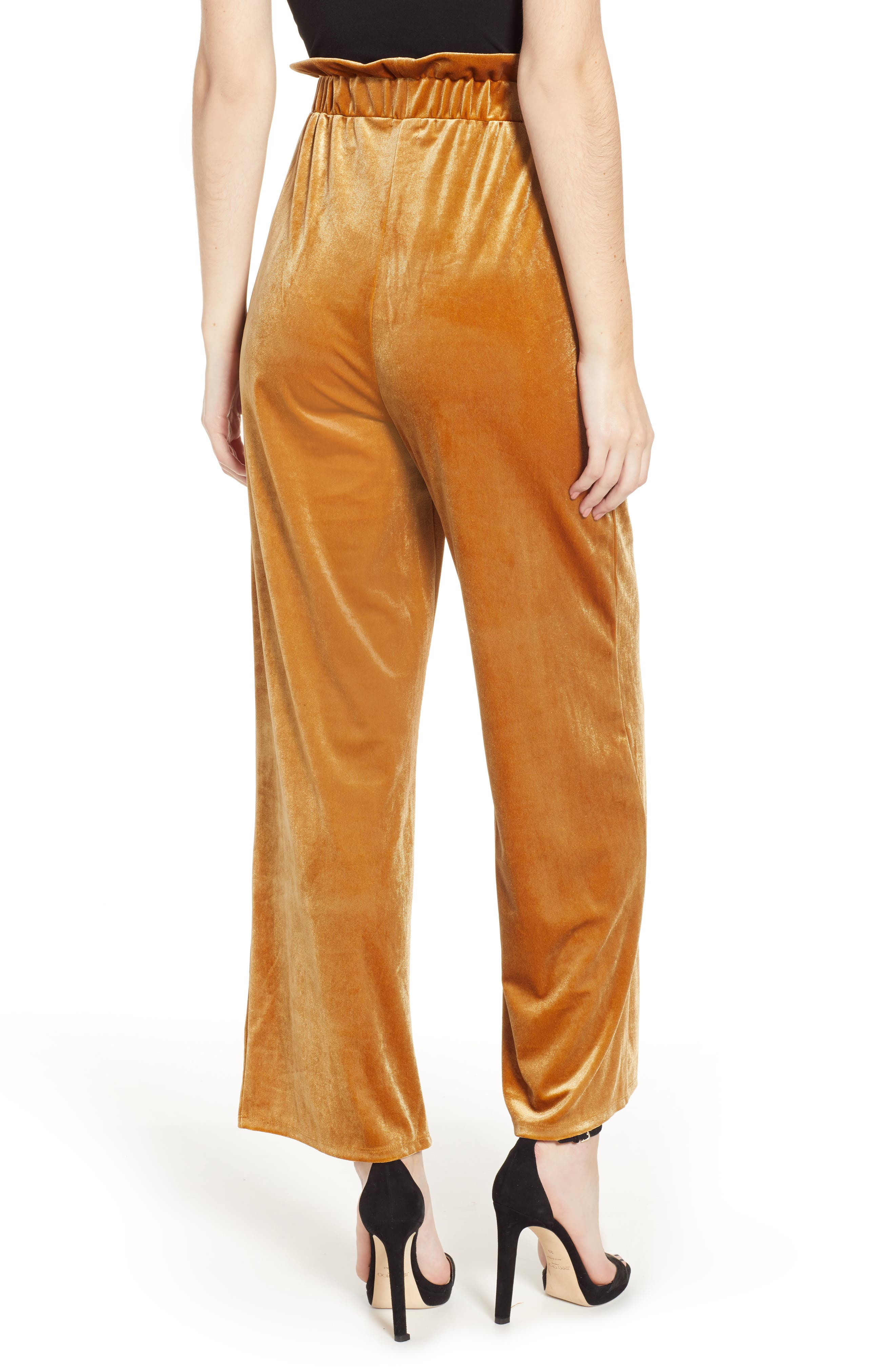 Velvet Wide Leg Pants,                             Alternate thumbnail 2, color,                             GOLD