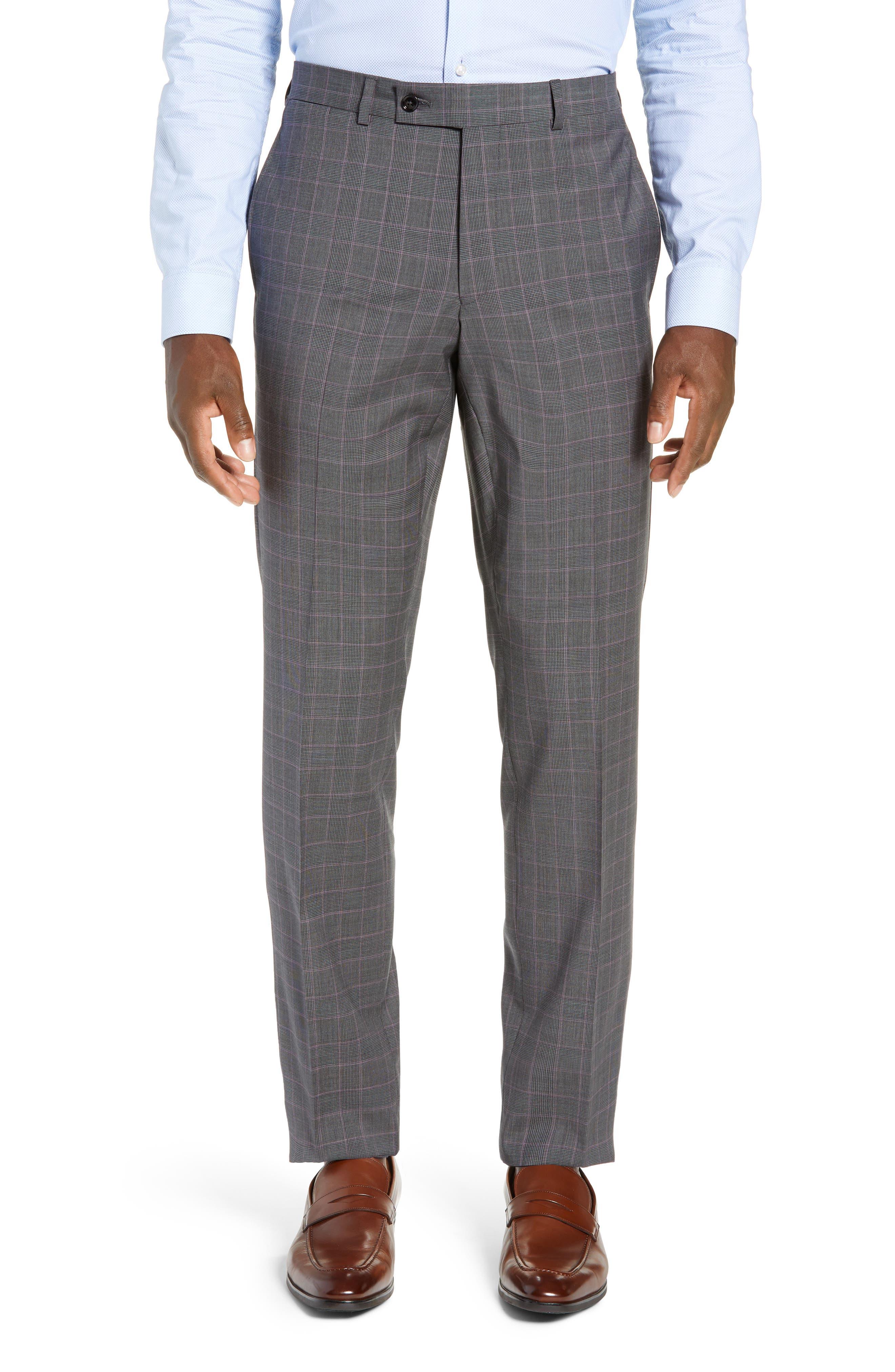 TED BAKER LONDON,                             Jay Trim Fit Plaid Wool Suit,                             Alternate thumbnail 6, color,                             GREY