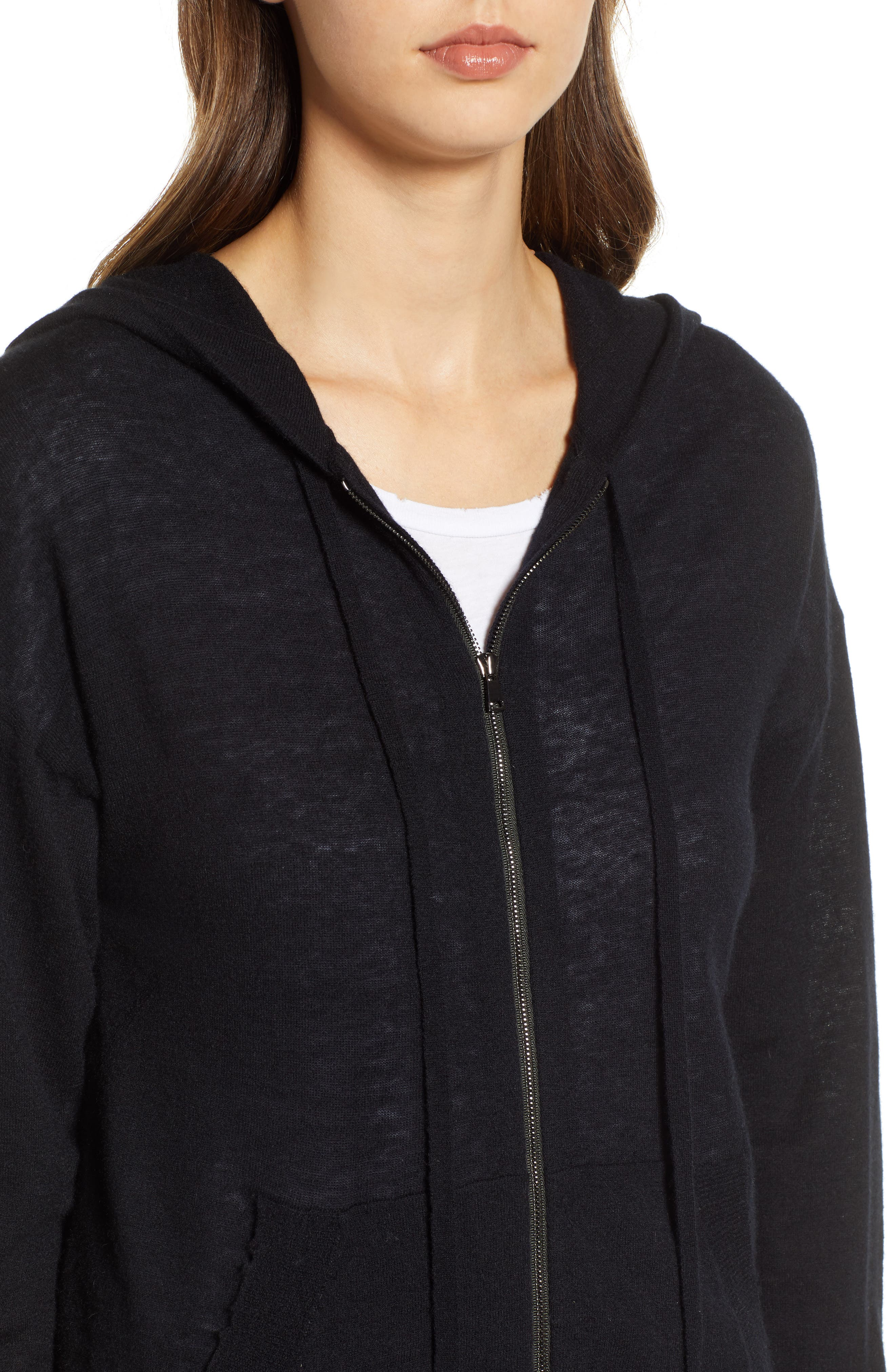 ZADIG & VOLTAIRE,                             Sixtine Bis Cashmere Zip Sweater Hoodie,                             Alternate thumbnail 4, color,                             001