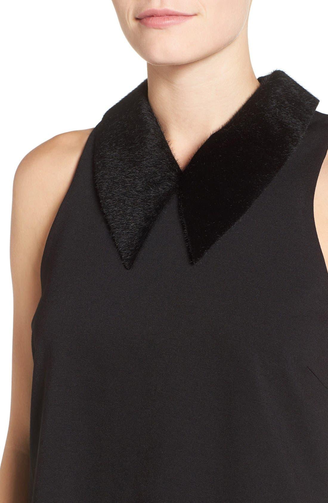 Faux Calf Hair Collar Dress,                             Alternate thumbnail 4, color,                             001