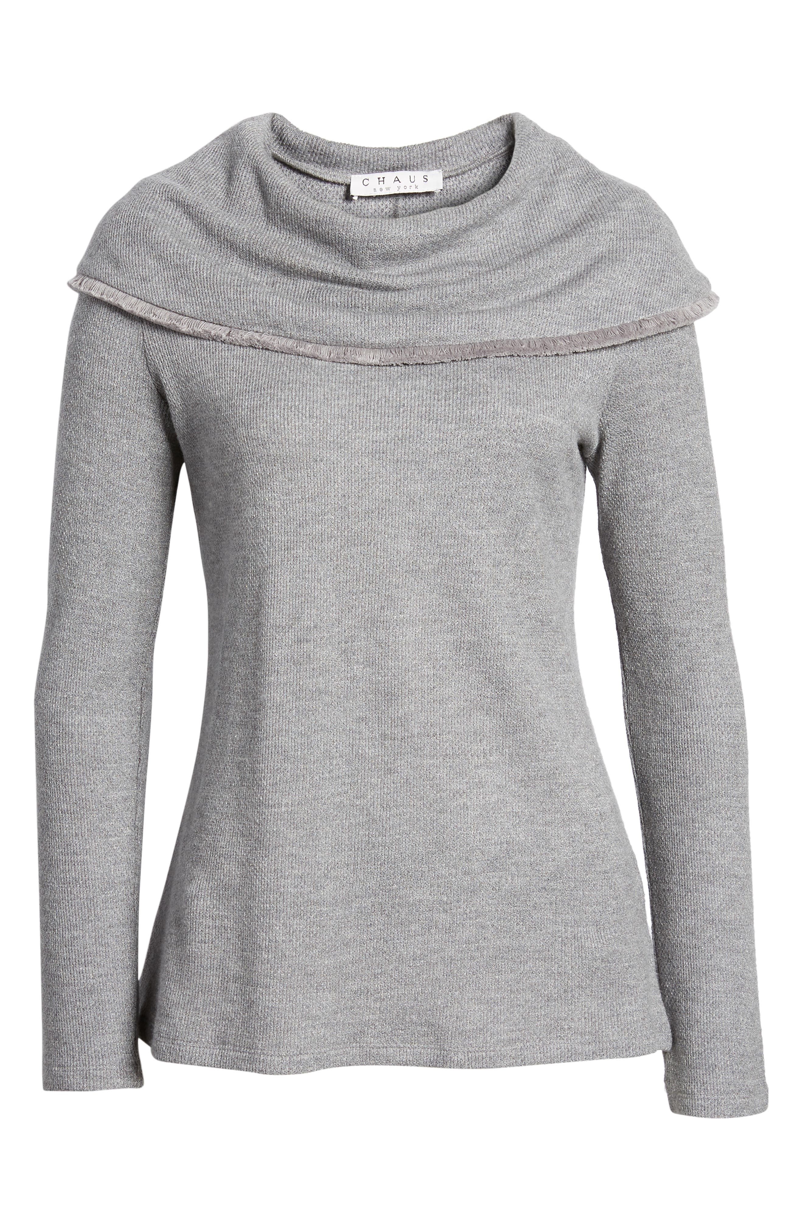 Long Sleeve Cowl Neck Sweater,                             Alternate thumbnail 6, color,                             LUXE GREY