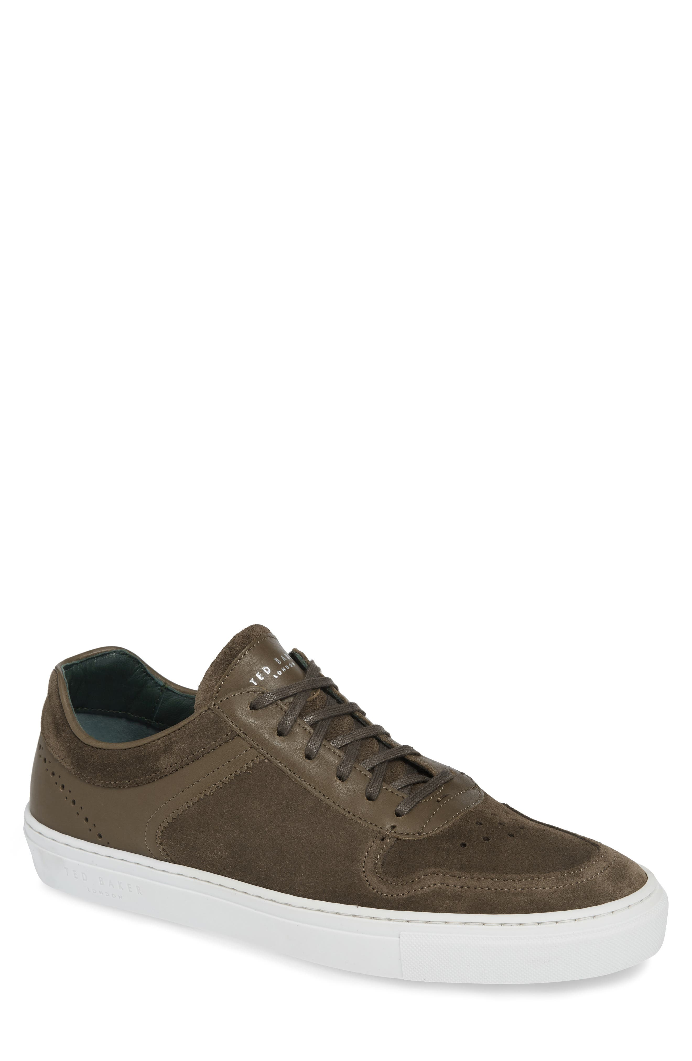 Burall Sneaker,                         Main,                         color, DARK GREEN SUEDE