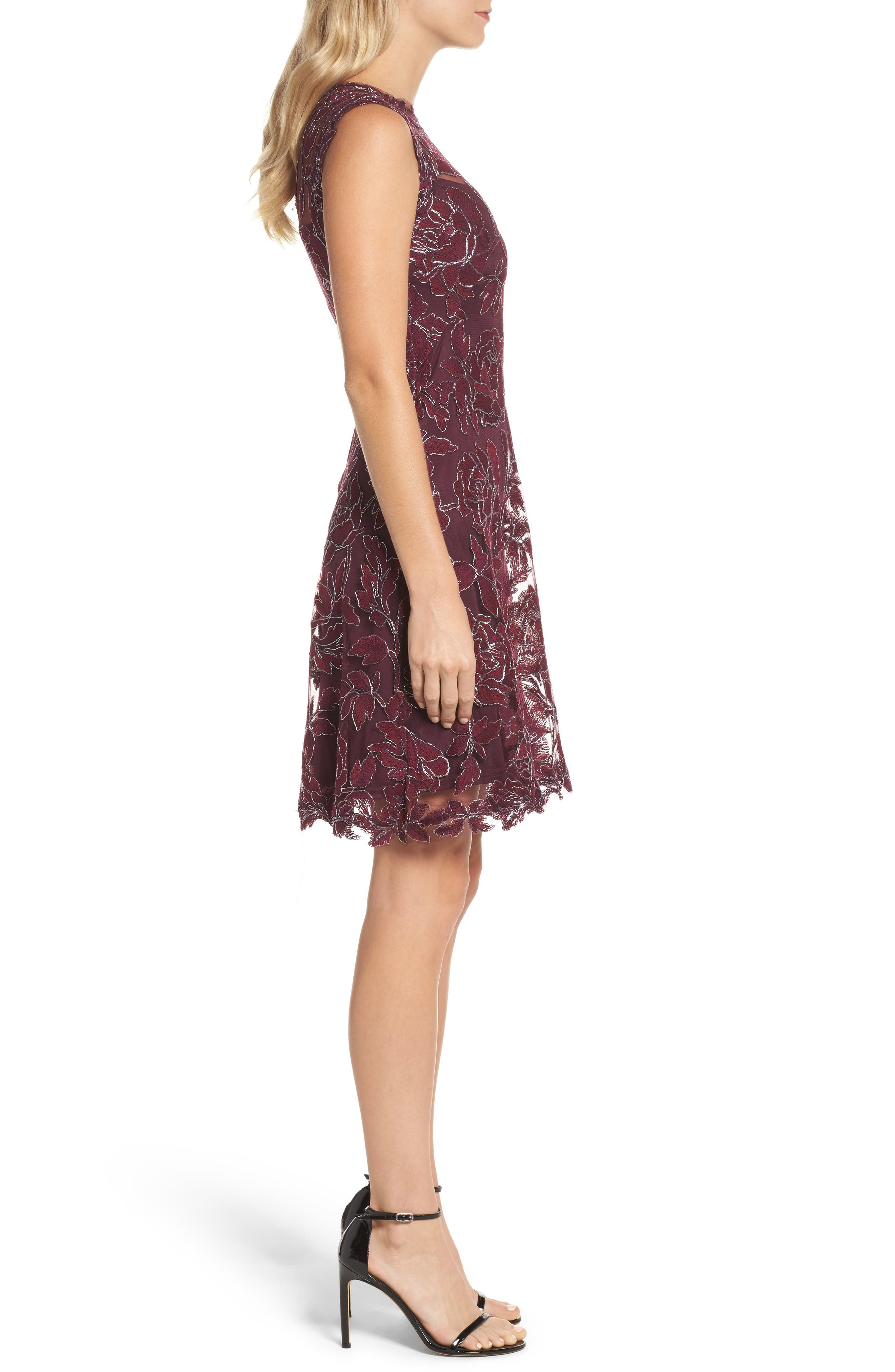 Noelle Floral Fit & Flare Dress,                             Alternate thumbnail 3, color,                             572