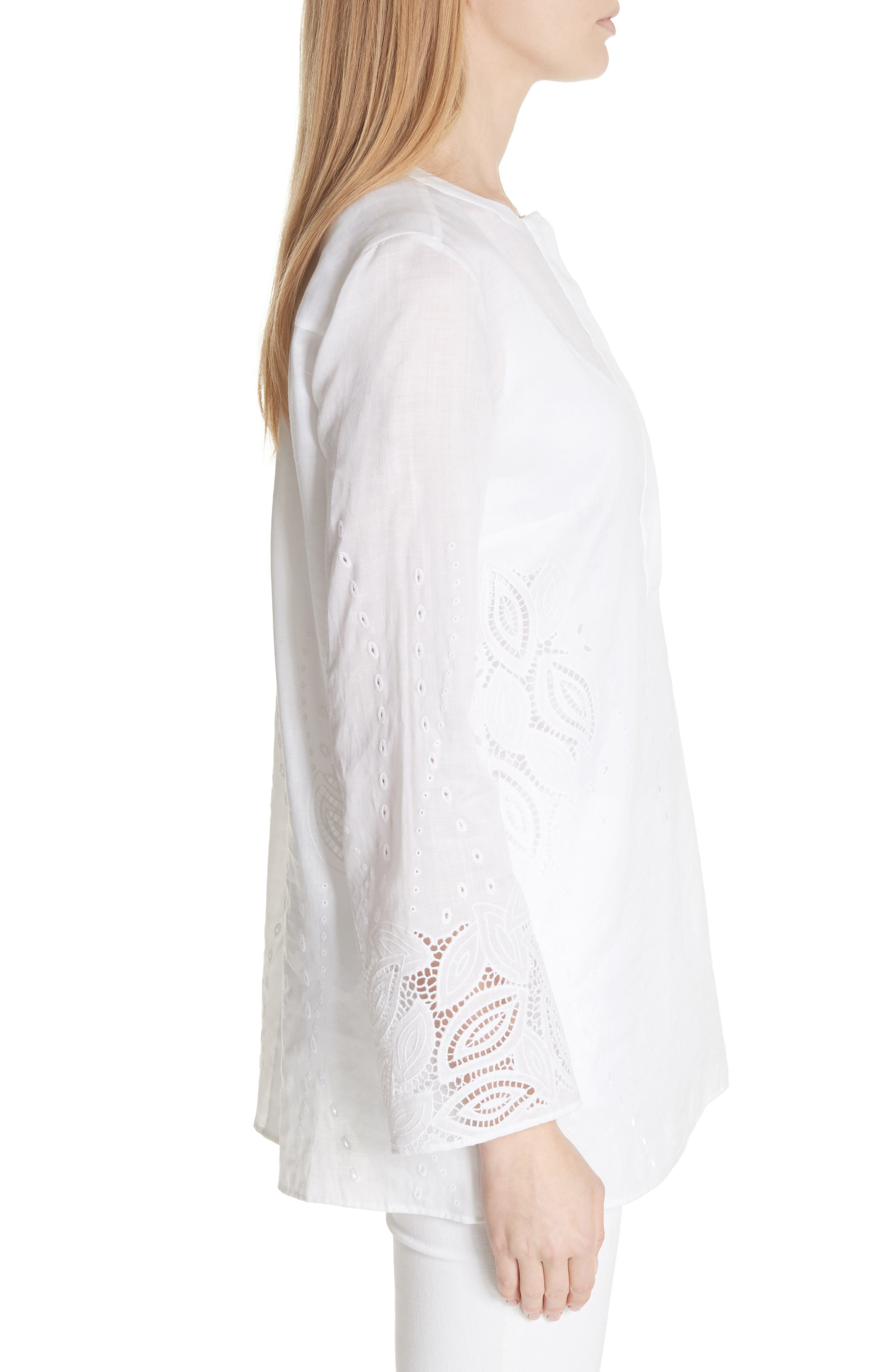 Haisley Embroidered Gemma Cloth Blouse,                             Alternate thumbnail 3, color,                             100
