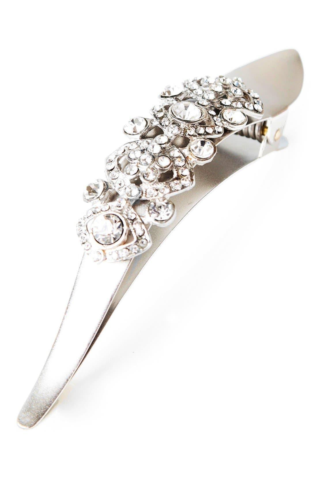 Maximas Victorian Crystal Embellished Hair Clip,                         Main,                         color, SILVER