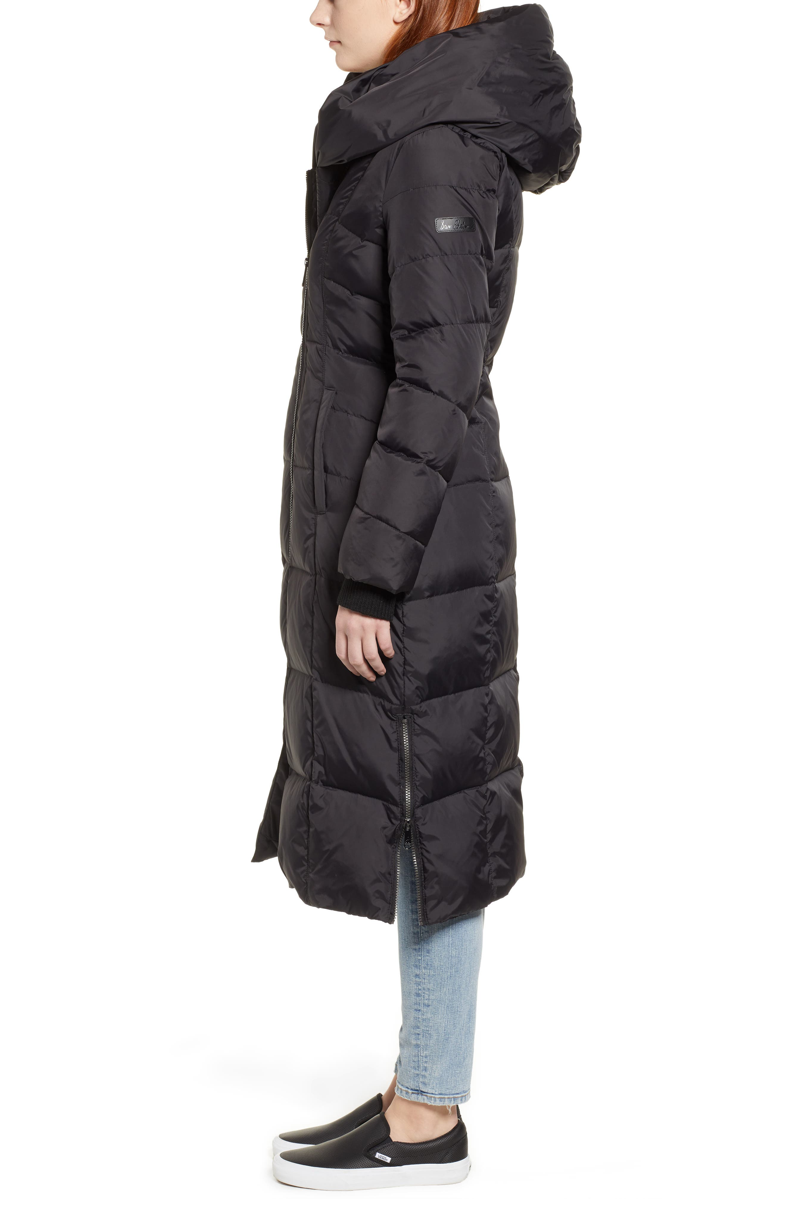 Pillow Collar Quilted Down Long Coat,                             Alternate thumbnail 3, color,                             BLACK