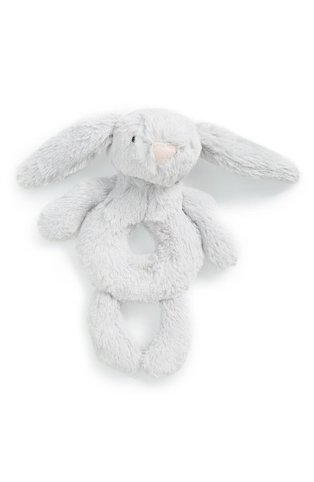 'Bashful Grey Bunny' Grabber Rattle,                             Main thumbnail 1, color,                             GREY