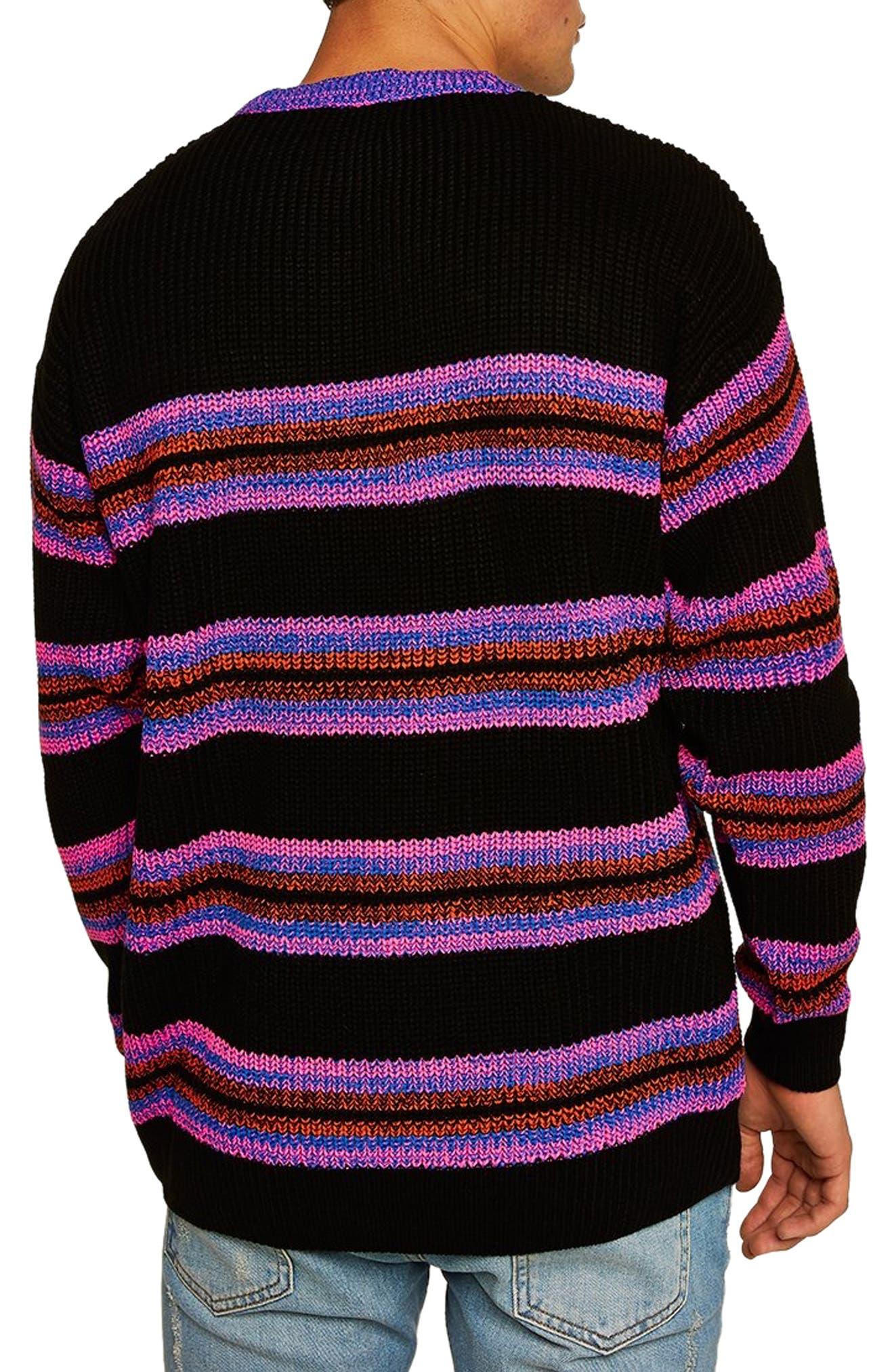 '90s Stripe Classic Fit Sweater,                             Alternate thumbnail 2, color,                             BLACK MULTI