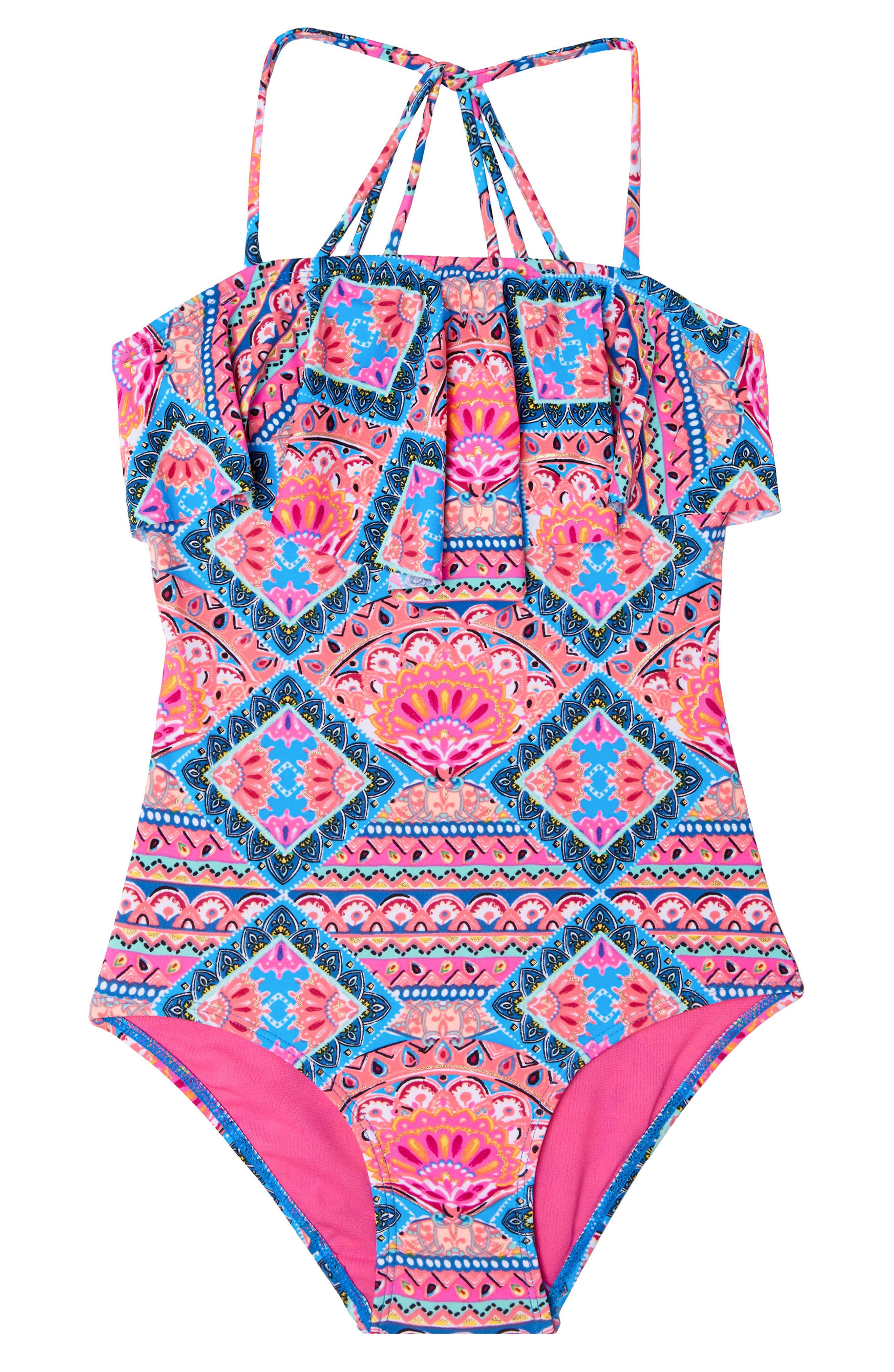 Mixed Print One-Piece Swimsuit,                         Main,                         color, PINK
