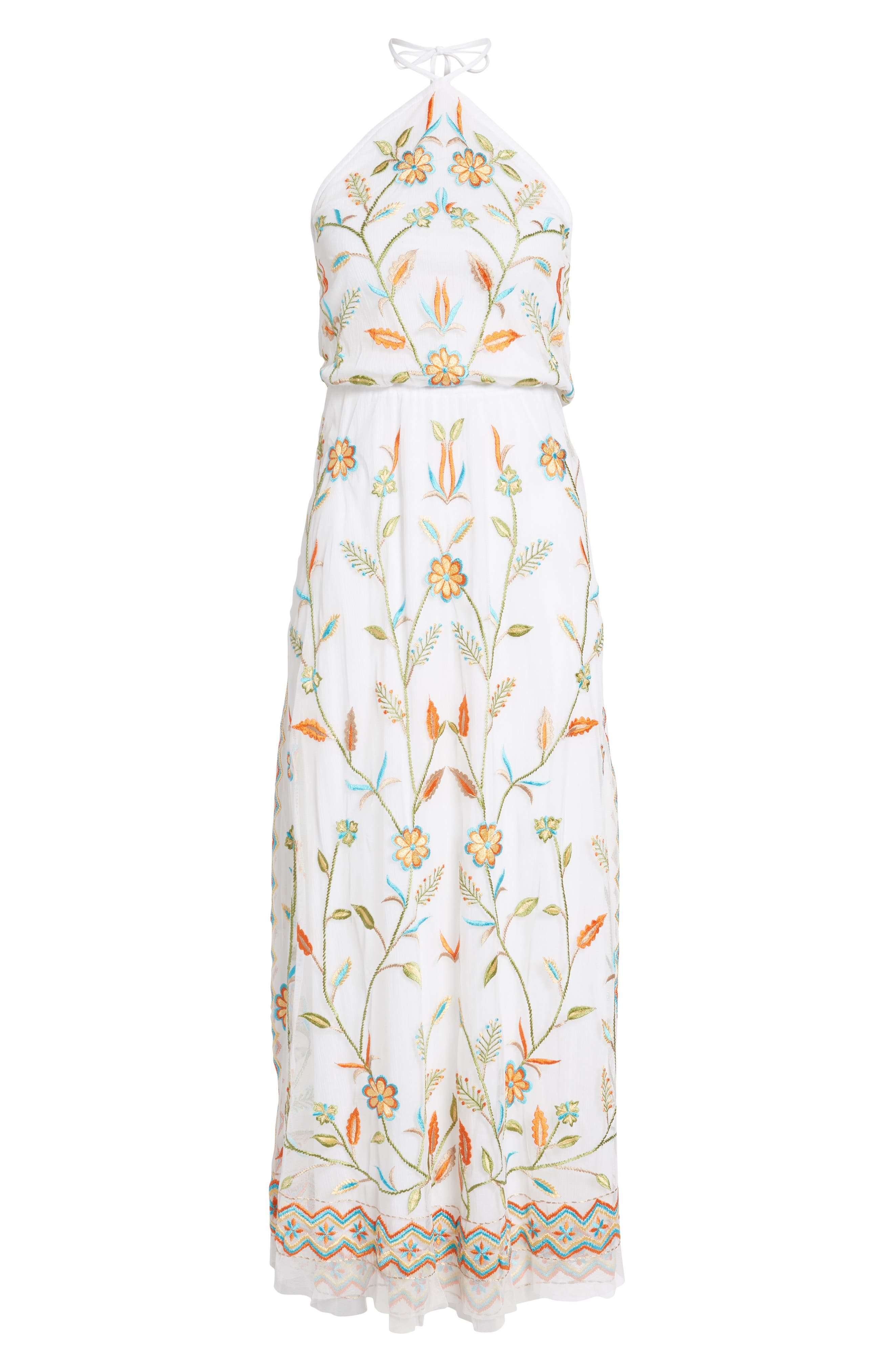Eve Embroidered Maxi Dress,                             Alternate thumbnail 6, color,                             WHITE