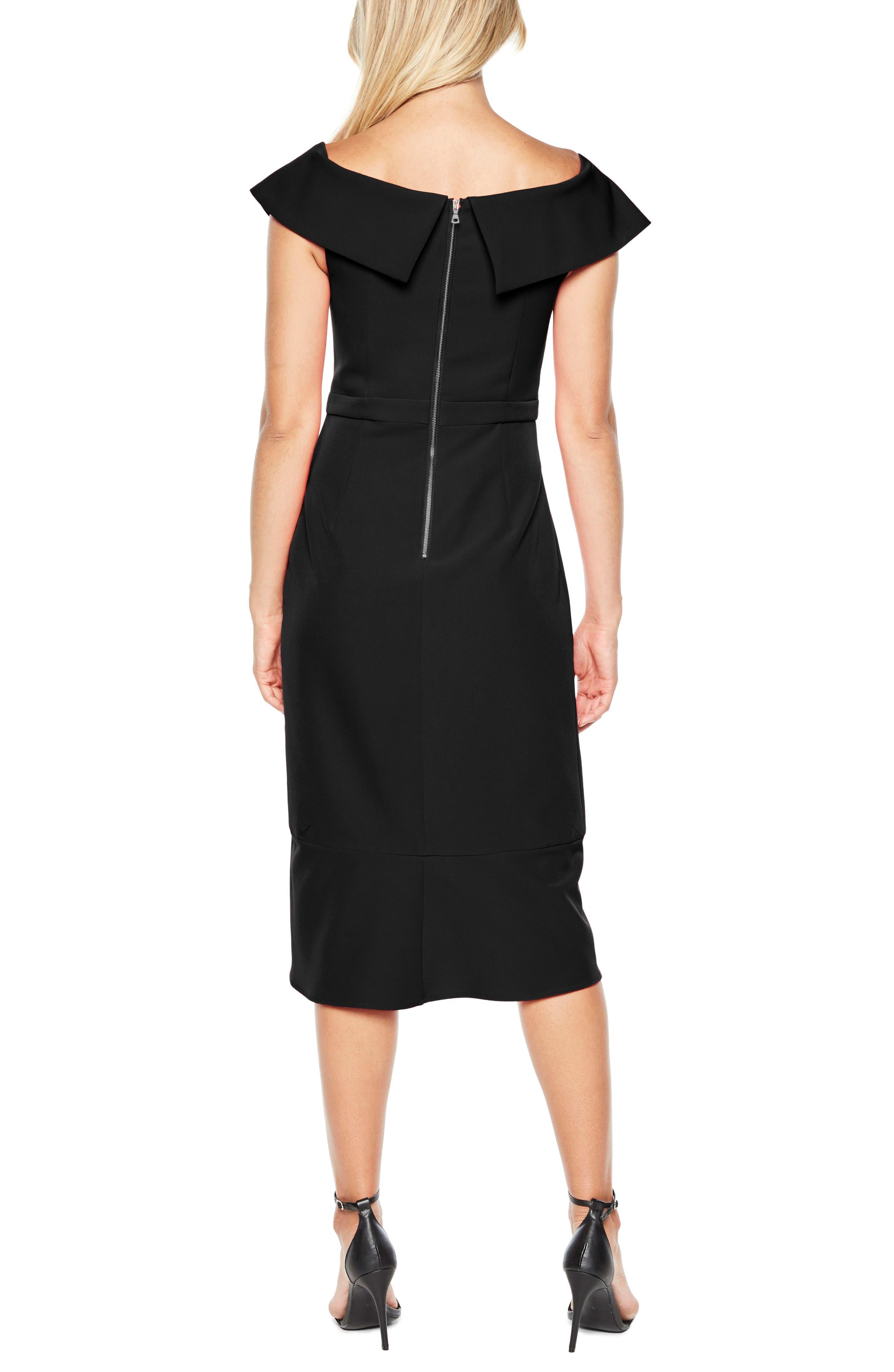 Bella Tulip Hem Dress,                             Alternate thumbnail 2, color,                             BLACK