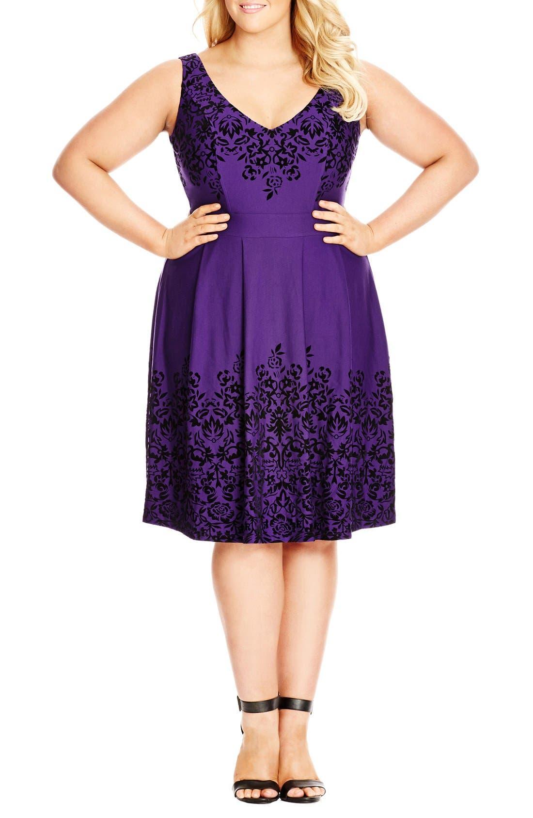Border Flocked Fit & Flare Dress,                             Main thumbnail 1, color,                             421