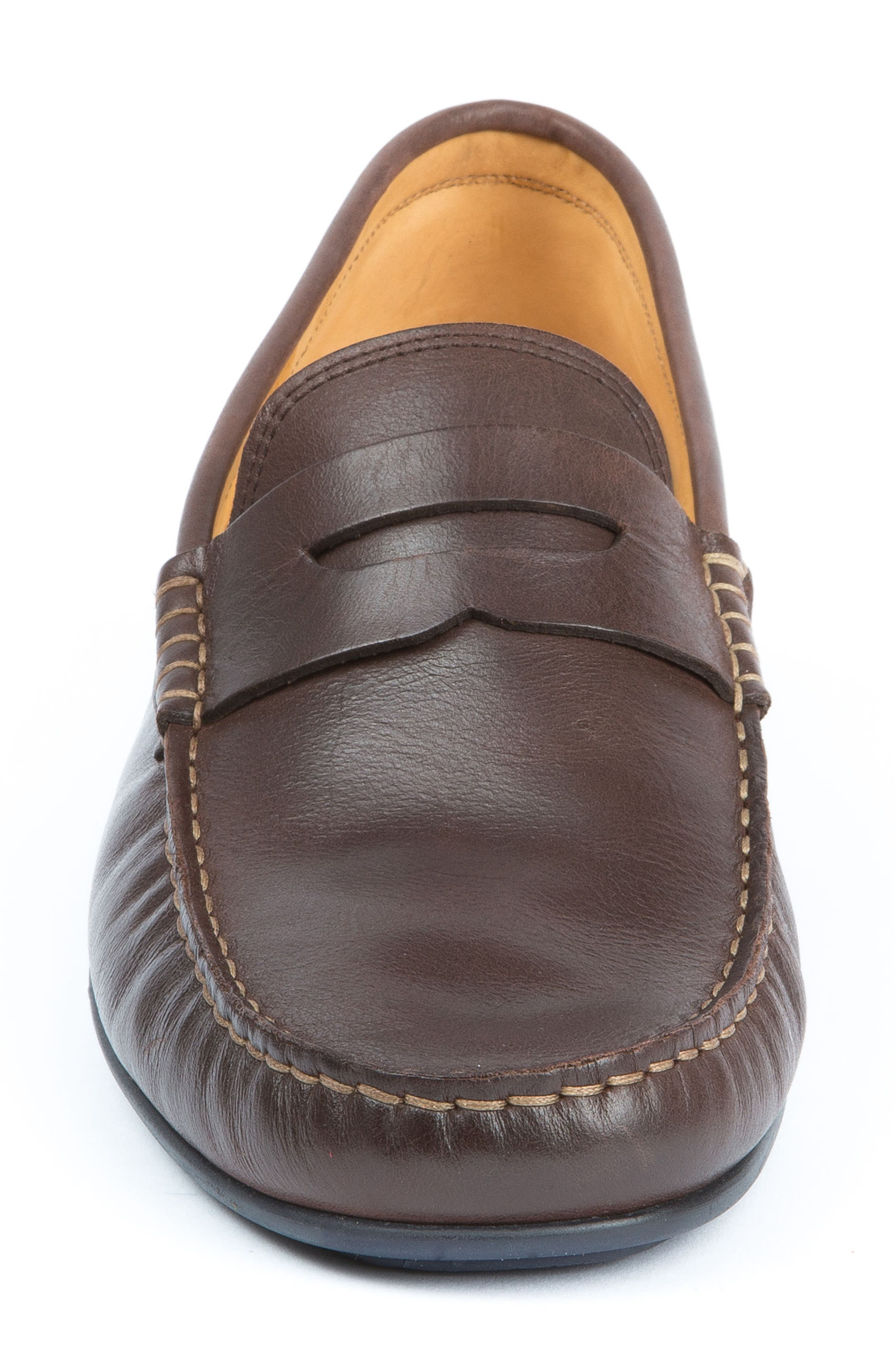 'Strattons' Driving Shoe,                             Alternate thumbnail 4, color,                             BROWN LEATHER/ NAVY