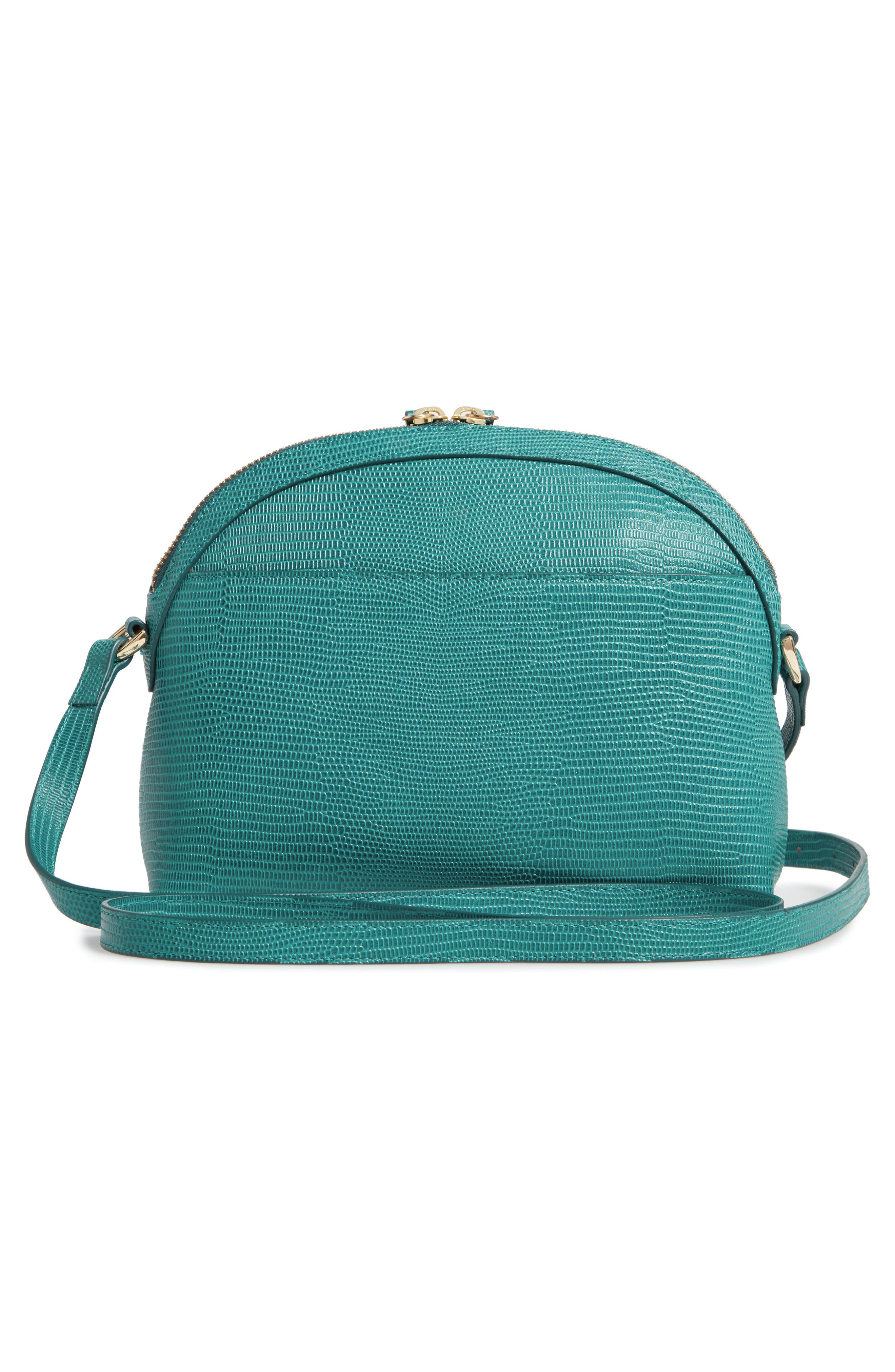 Isobel Half Moon Leather Crossbody Bag,                             Alternate thumbnail 3, color,                             TEAL HARBOR