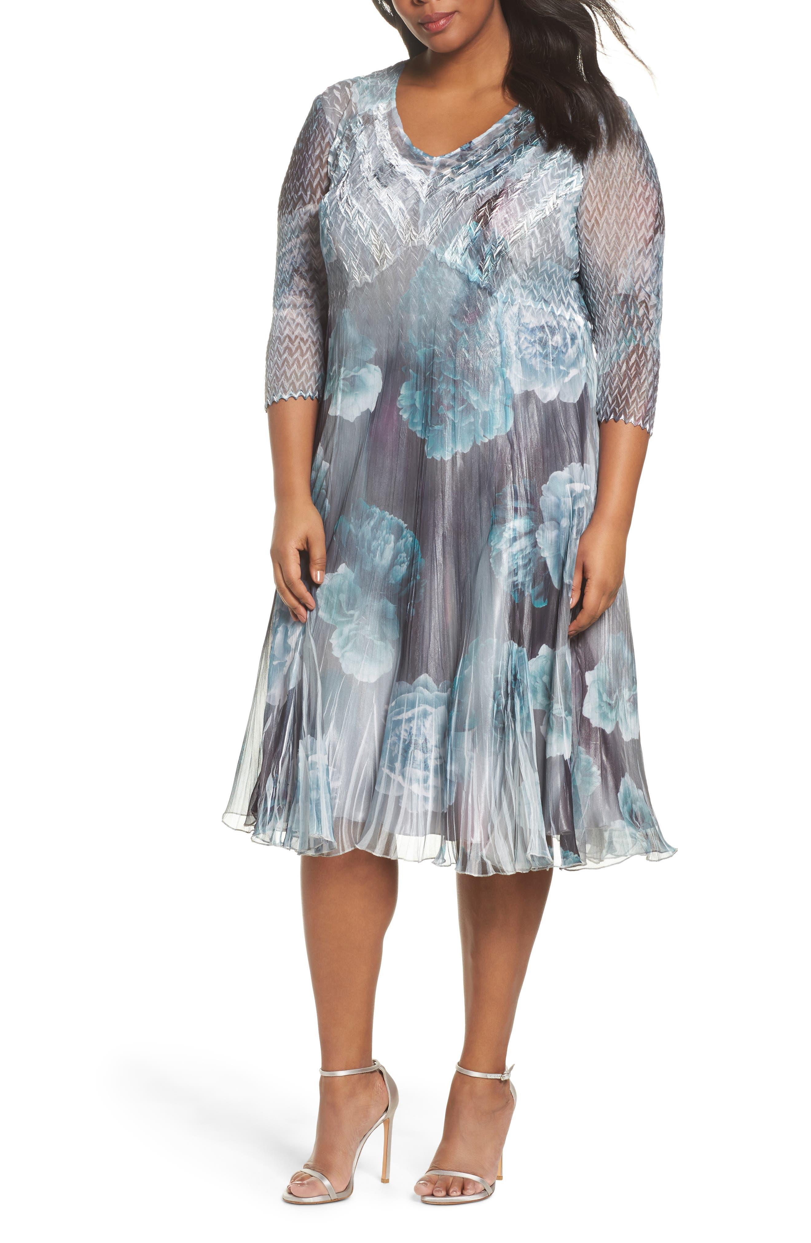 Floral Chiffon Dress,                             Main thumbnail 1, color,                             JADE MIST