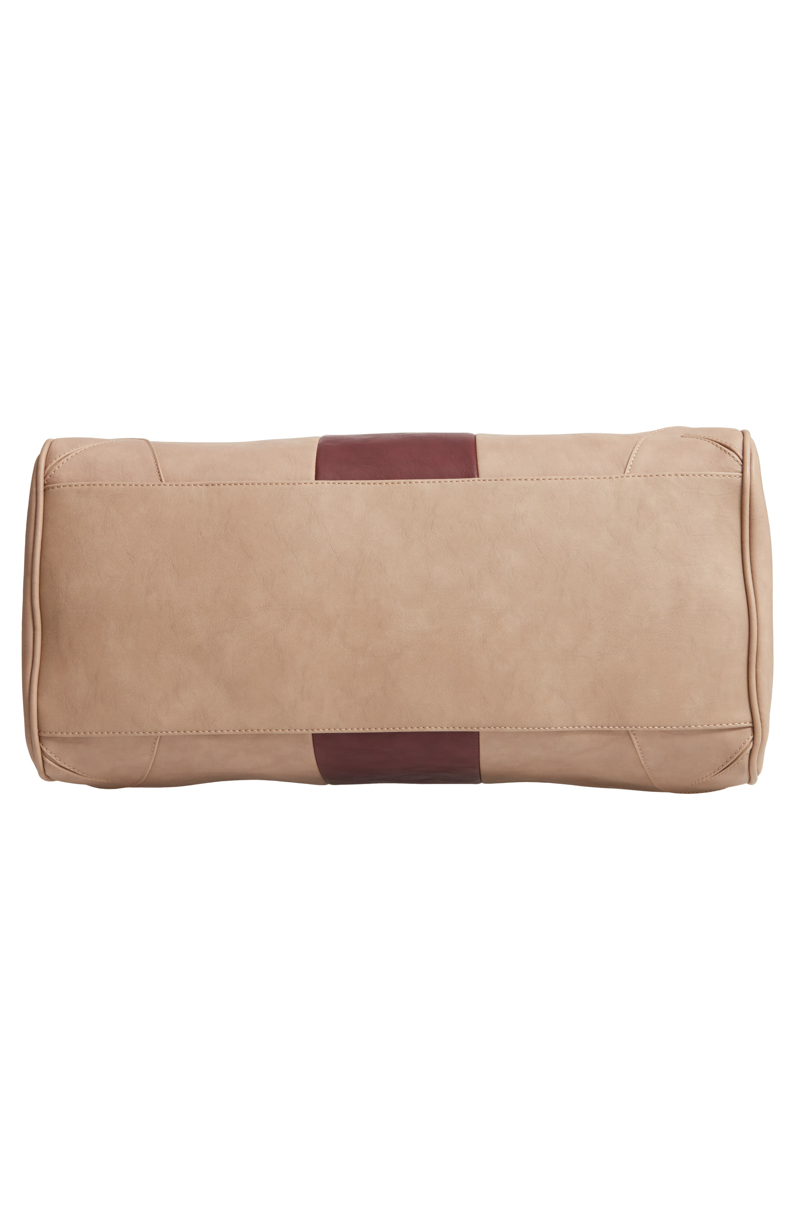 'Robin' Faux Leather Weekend Bag,                             Alternate thumbnail 6, color,                             TAUPE