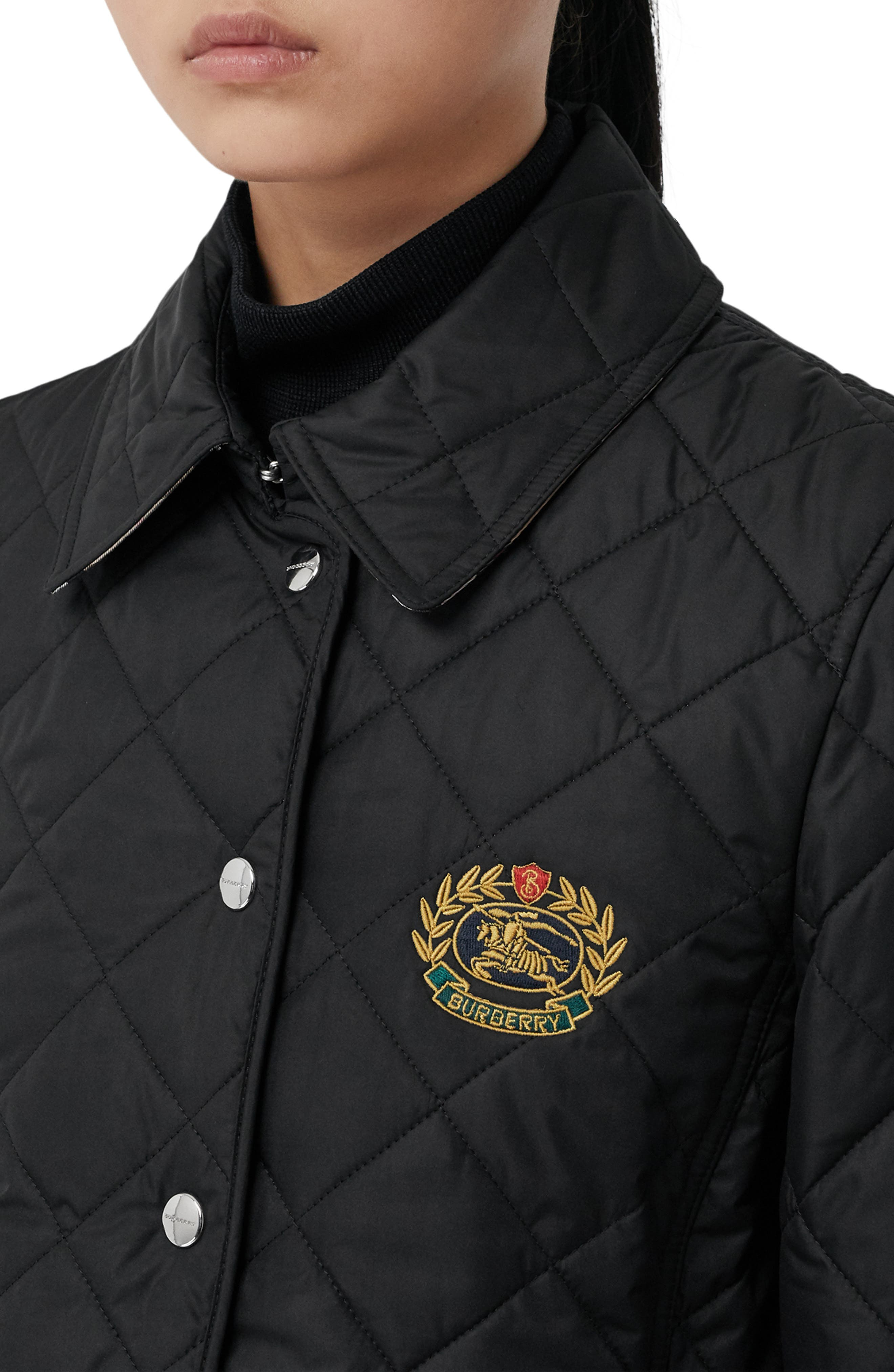 Franwell Diamond Quilted Jacket,                             Alternate thumbnail 4, color,                             BLACK