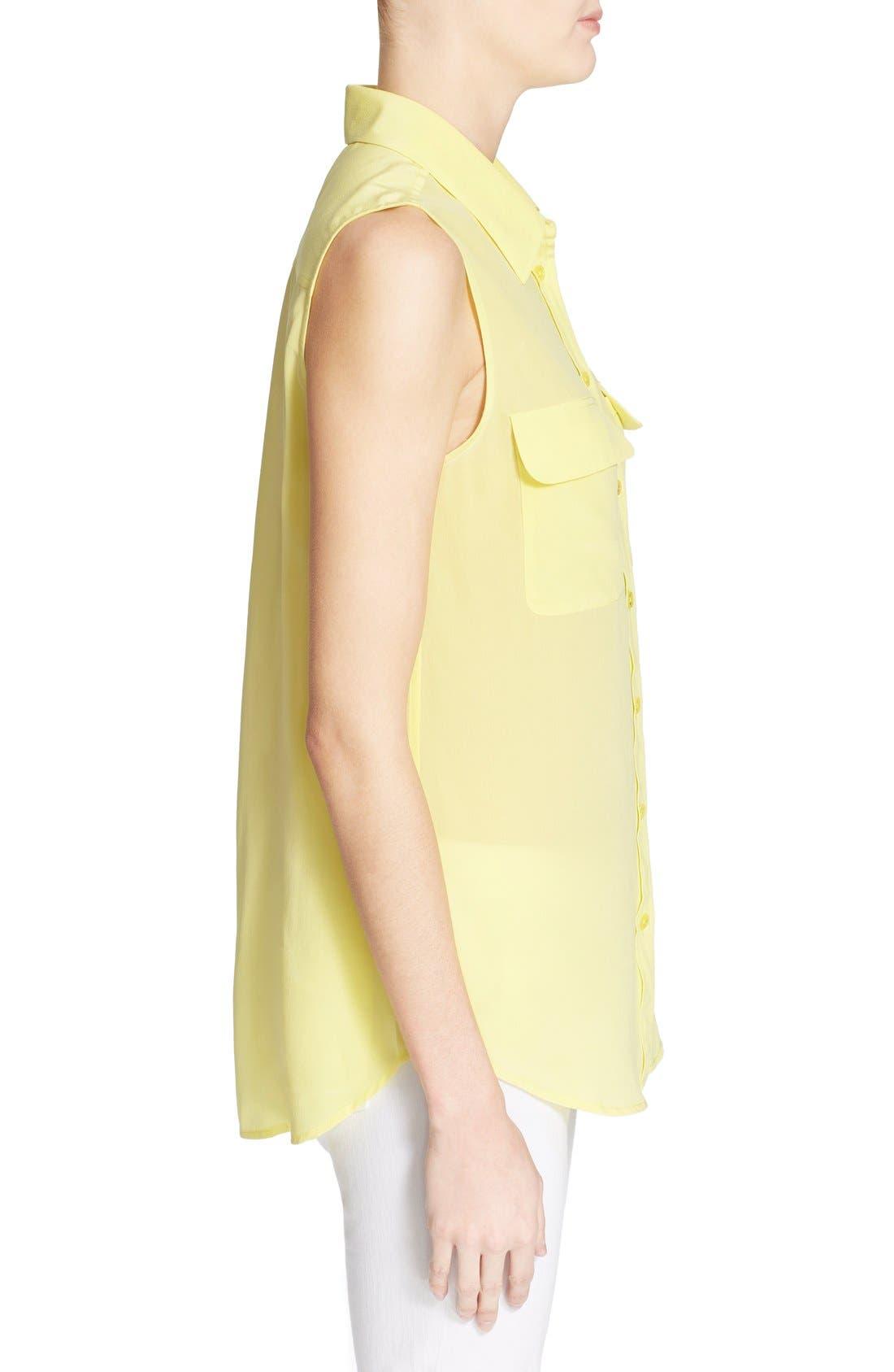 'Slim Signature' Sleeveless Silk Shirt,                             Alternate thumbnail 140, color,