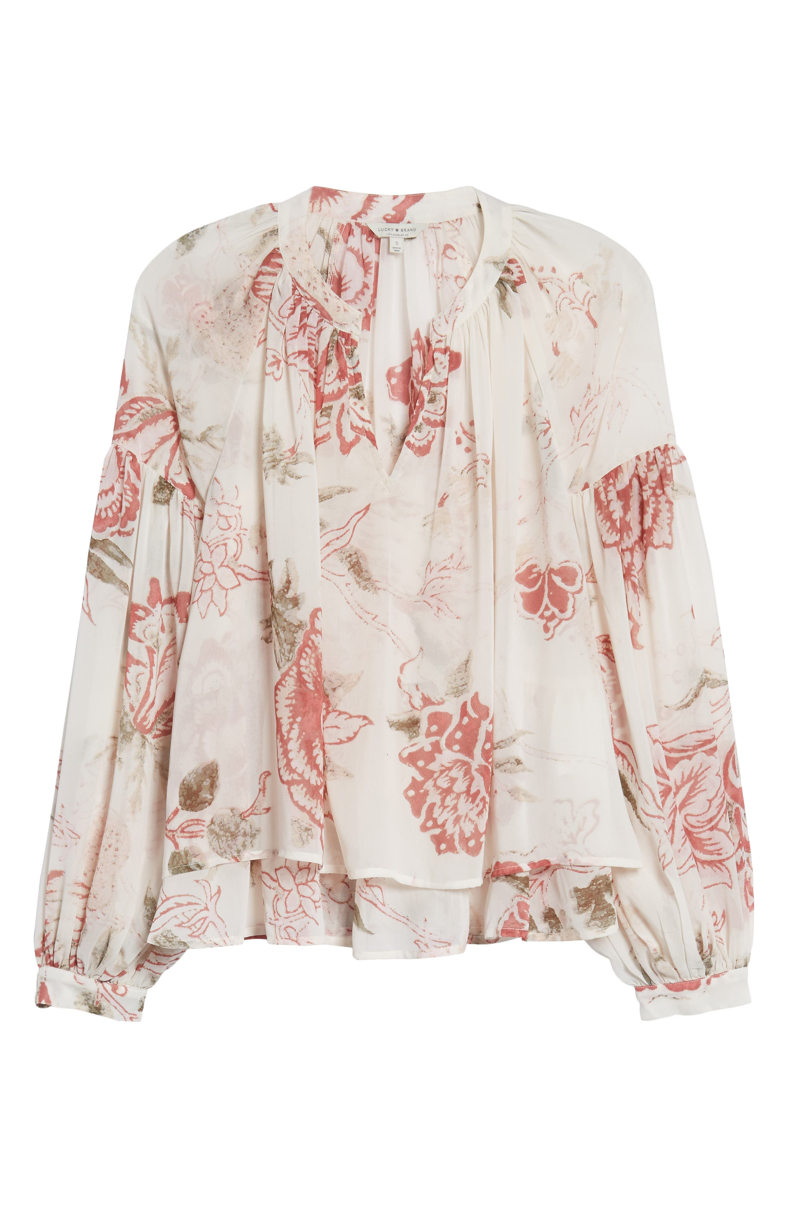Floral Print Ruffle Hem Blouse,                             Alternate thumbnail 6, color,                             250