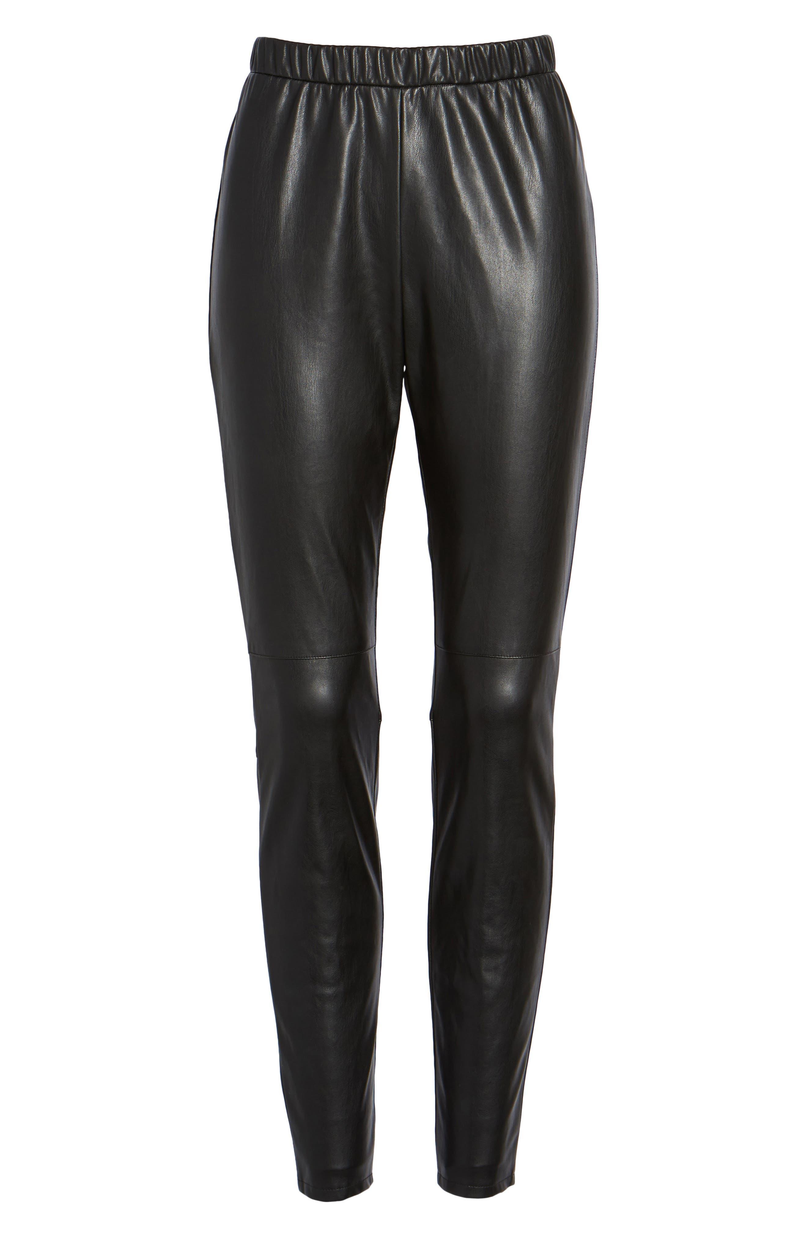 Zowie Faux Leather Pants,                             Alternate thumbnail 6, color,                             001