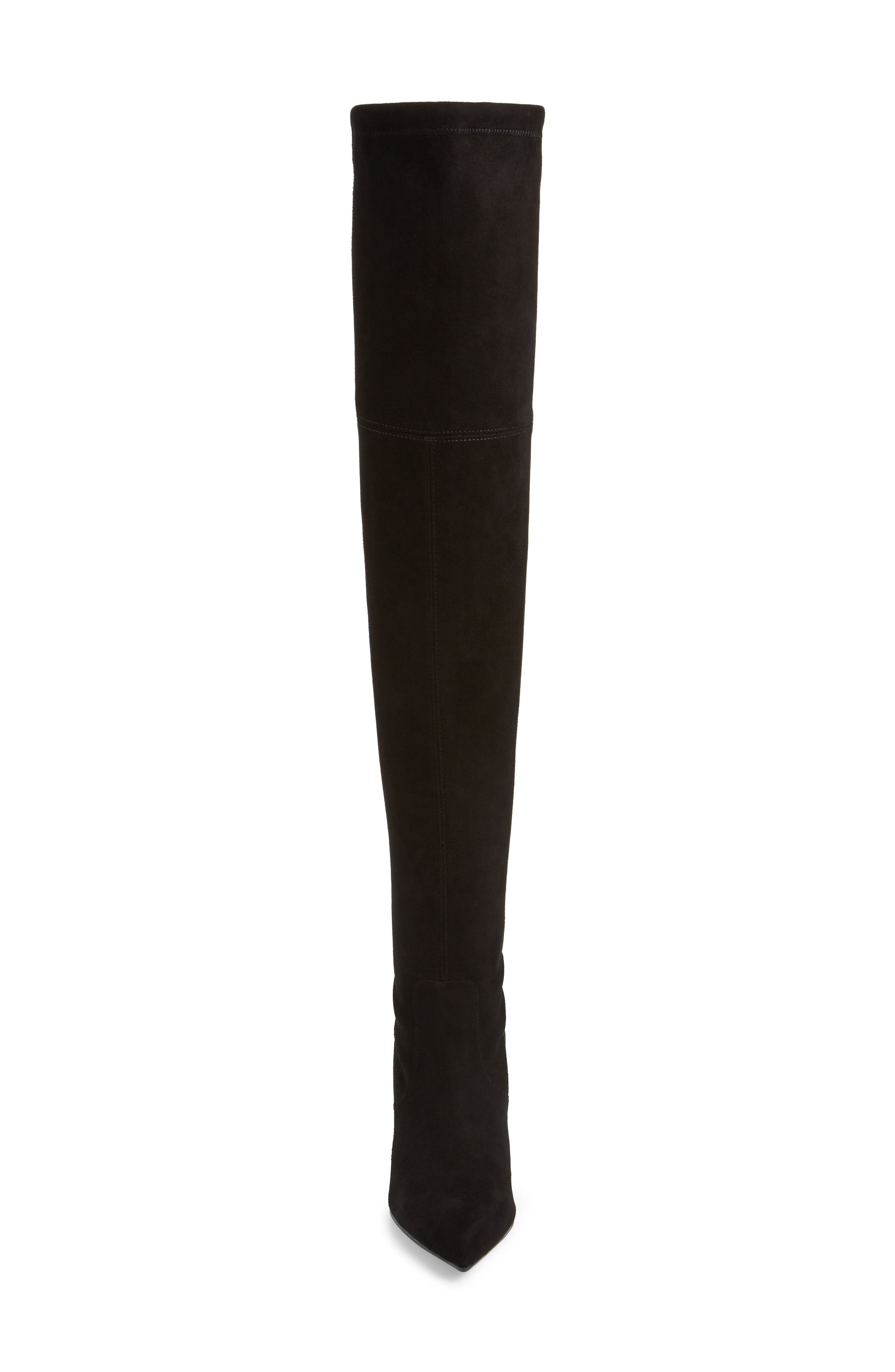 Natalia Thigh High Boot,                             Alternate thumbnail 4, color,                             BLACK SUEDE