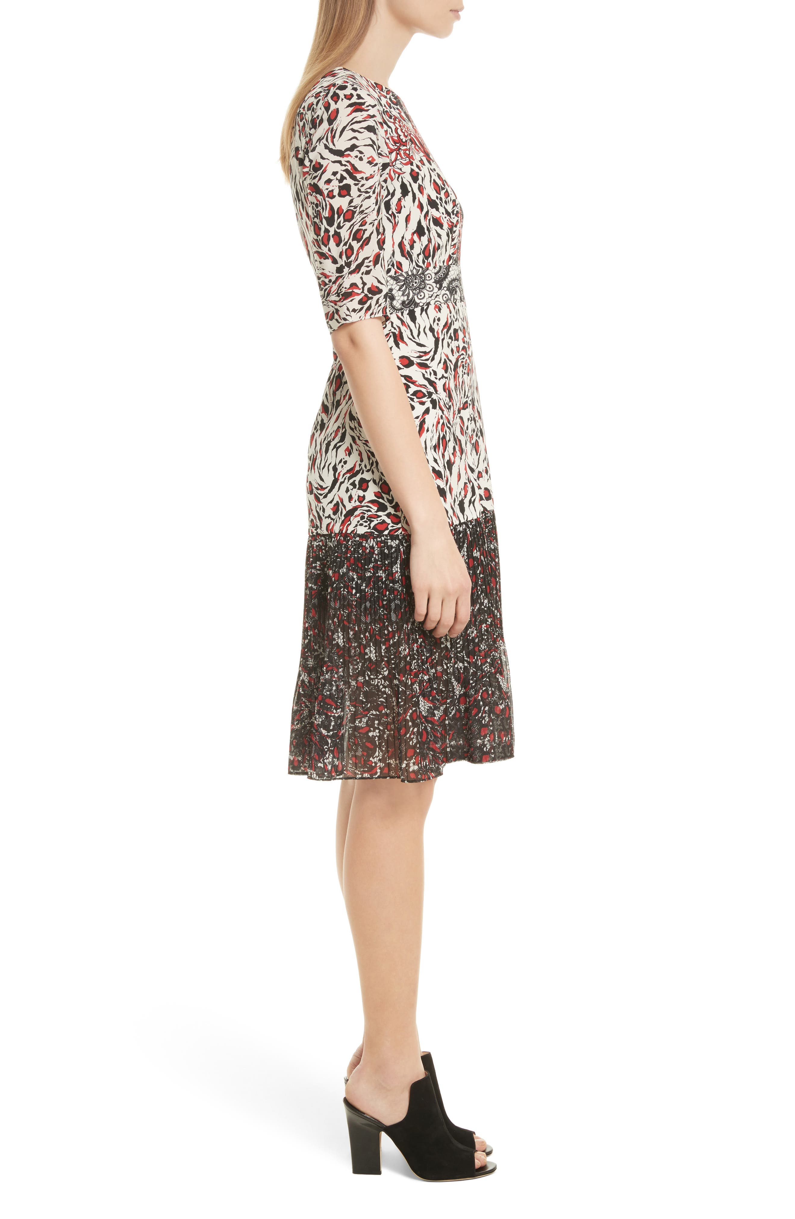 Vera Print Silk Dress,                             Alternate thumbnail 3, color,                             008