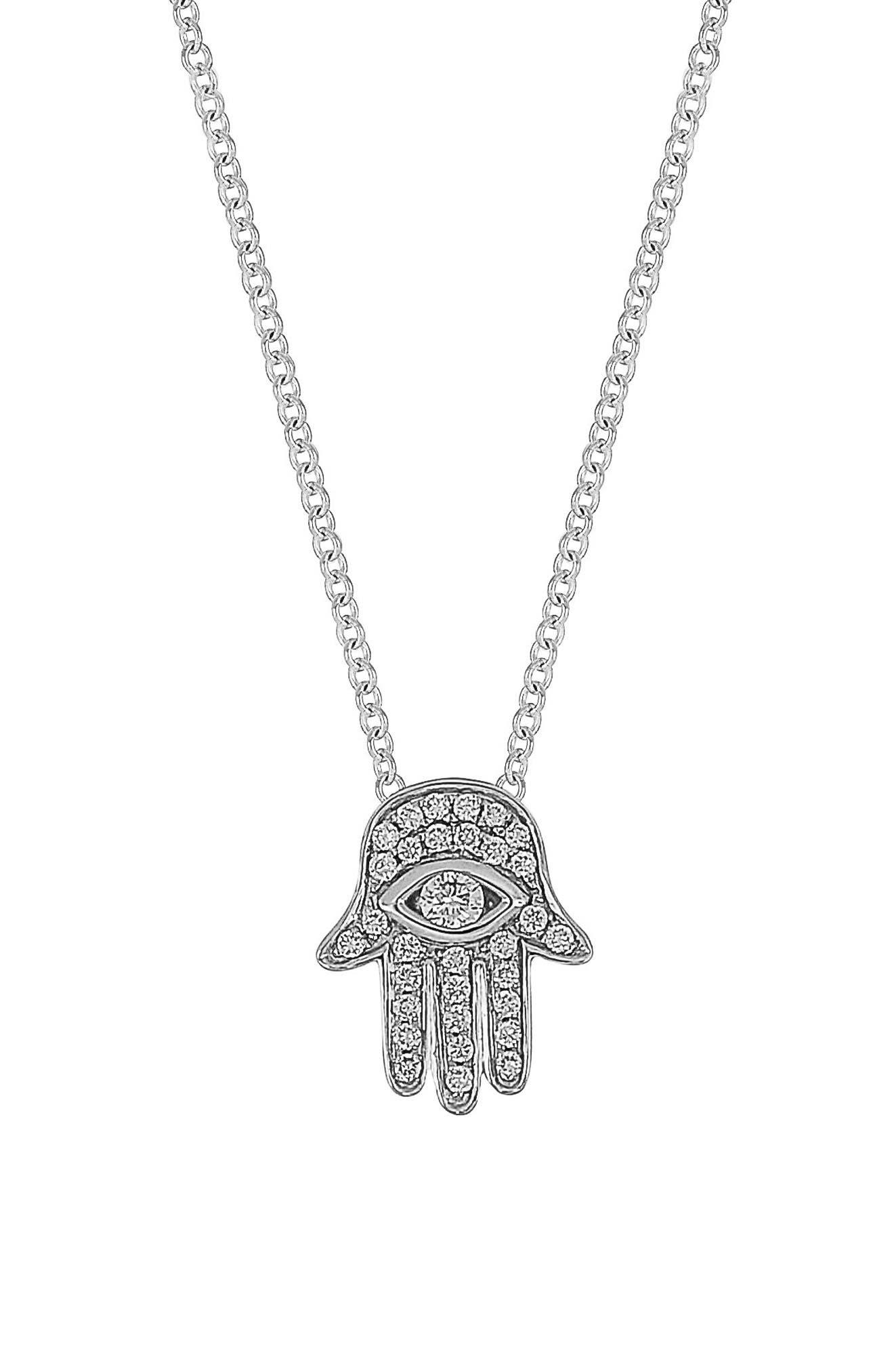 Hamsa Diamond Pendant Necklace,                         Main,                         color, WHITE GOLD