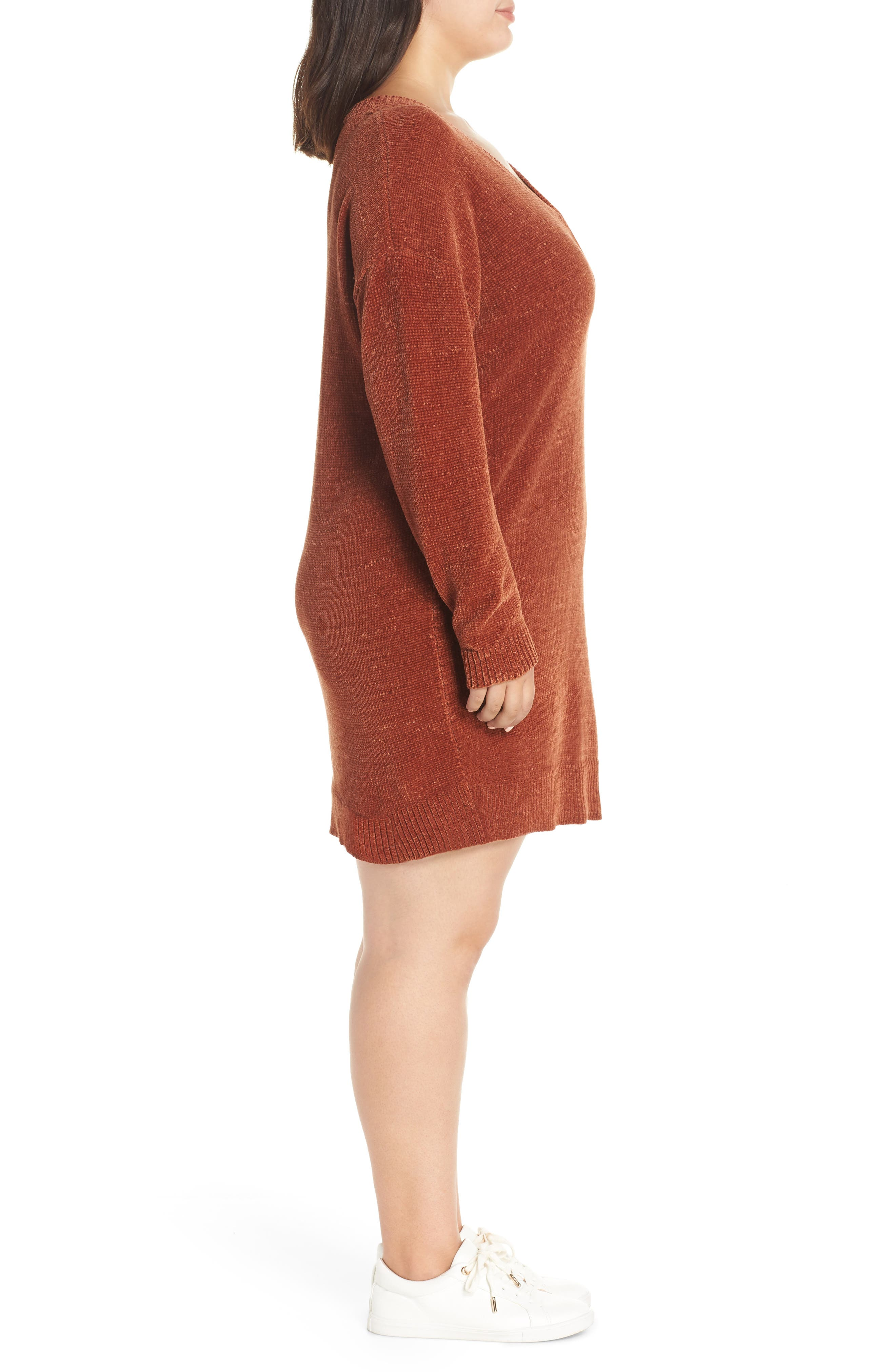 Chenille Sweater Dress,                             Alternate thumbnail 3, color,                             221