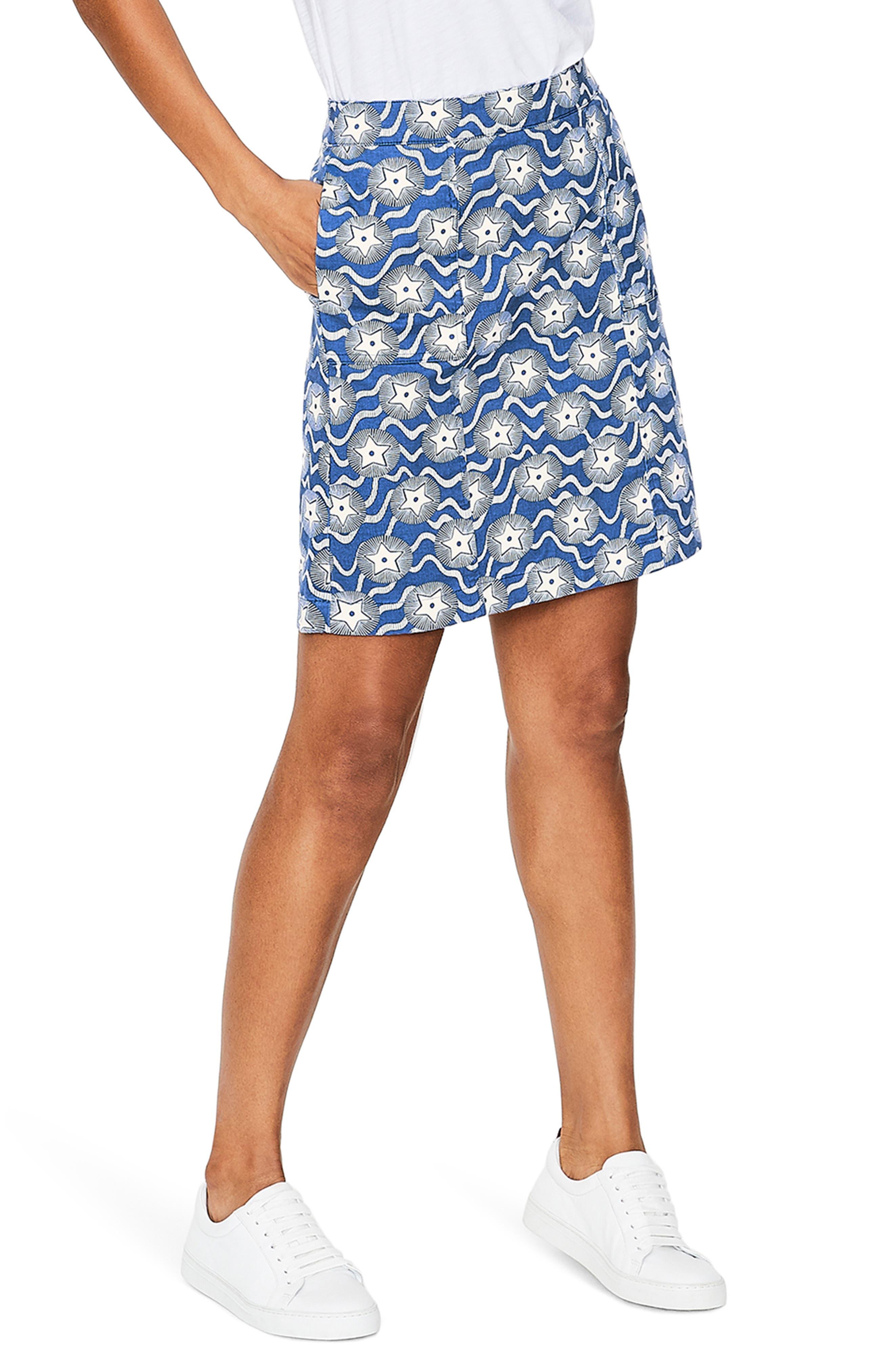 Boden Print A-Line Skirt, Blue