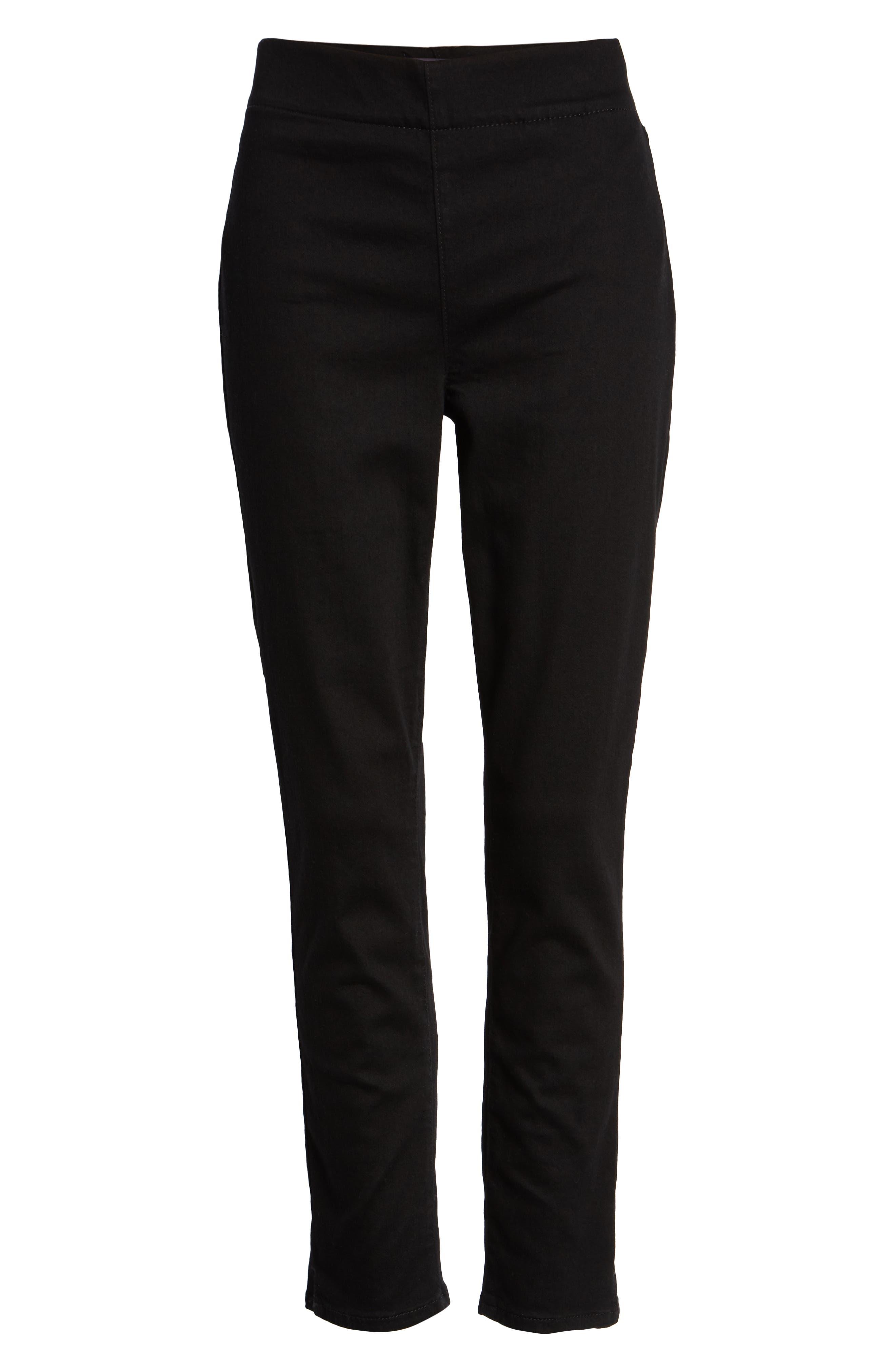 Alina High Waist Pull-On Ankle Skinny Jeans,                             Alternate thumbnail 4, color,                             BLACK