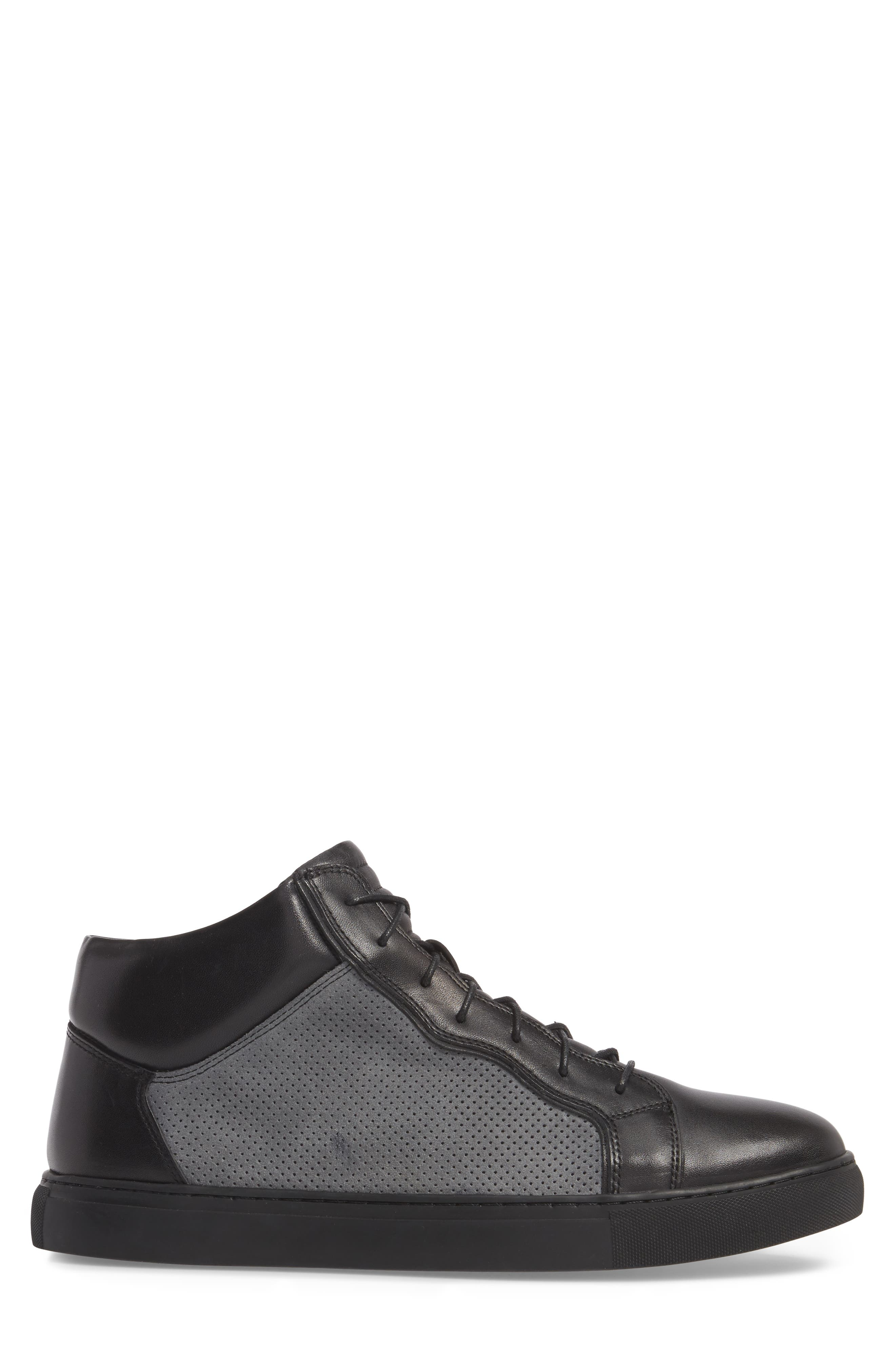 Twist Perforated High Top Sneaker,                             Alternate thumbnail 3, color,                             BLACK LEATHER/ SUEDE