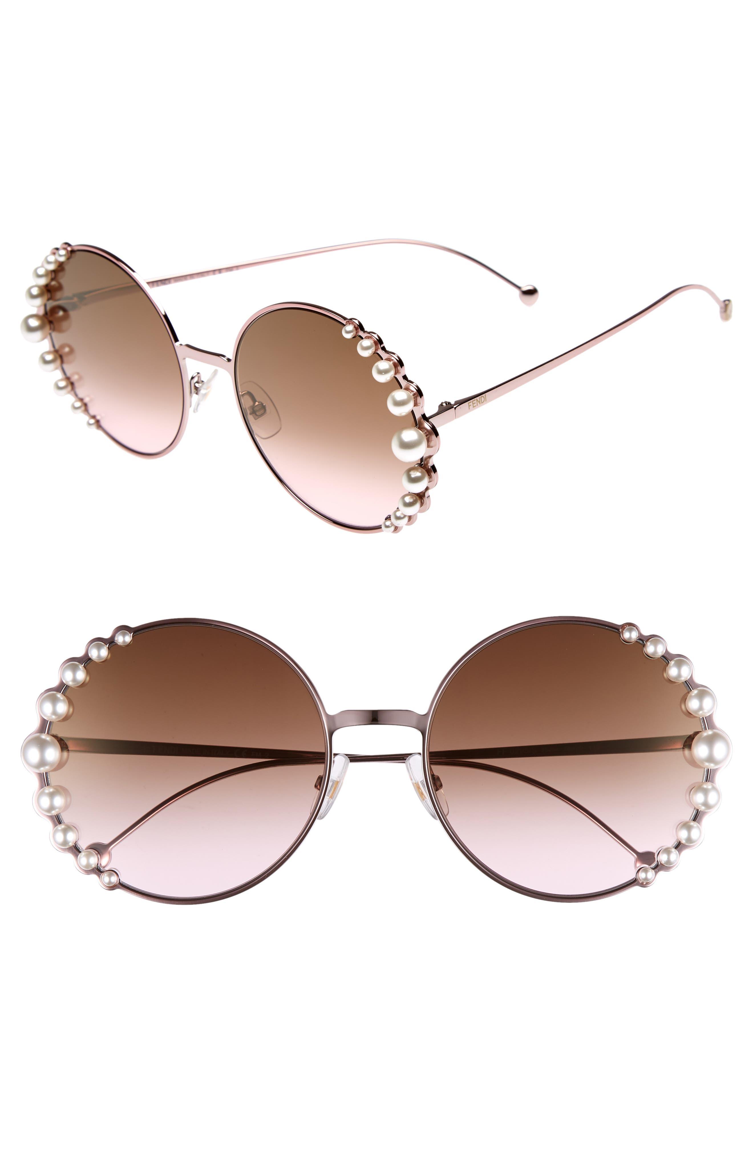 9df7feea765 Fendi Women S Ribbons And Pearls Oversized Round Sunglasses