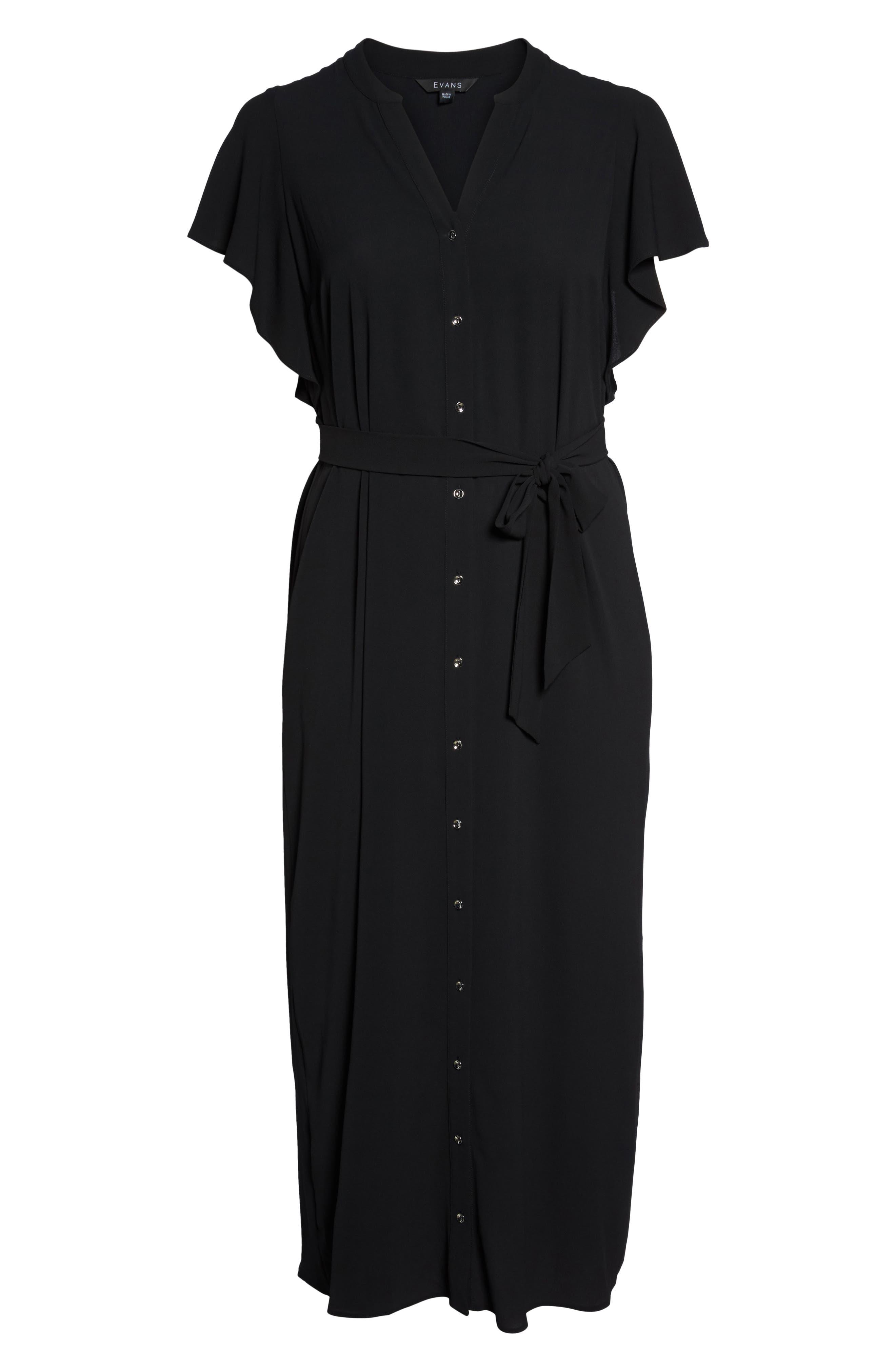 Ruffled Maxi Shirtdress,                             Alternate thumbnail 6, color,                             001
