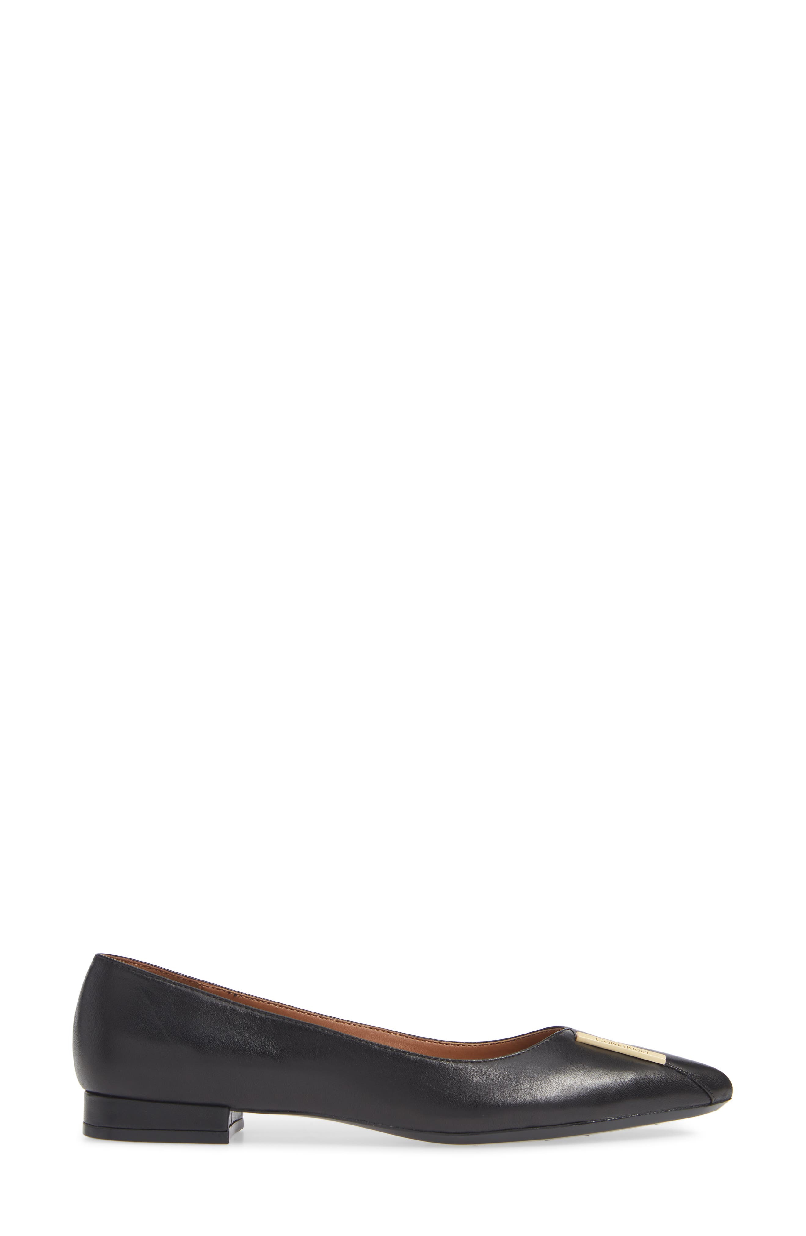 Arline Pointy Toe Flat,                             Alternate thumbnail 3, color,                             BLACK LEATHER