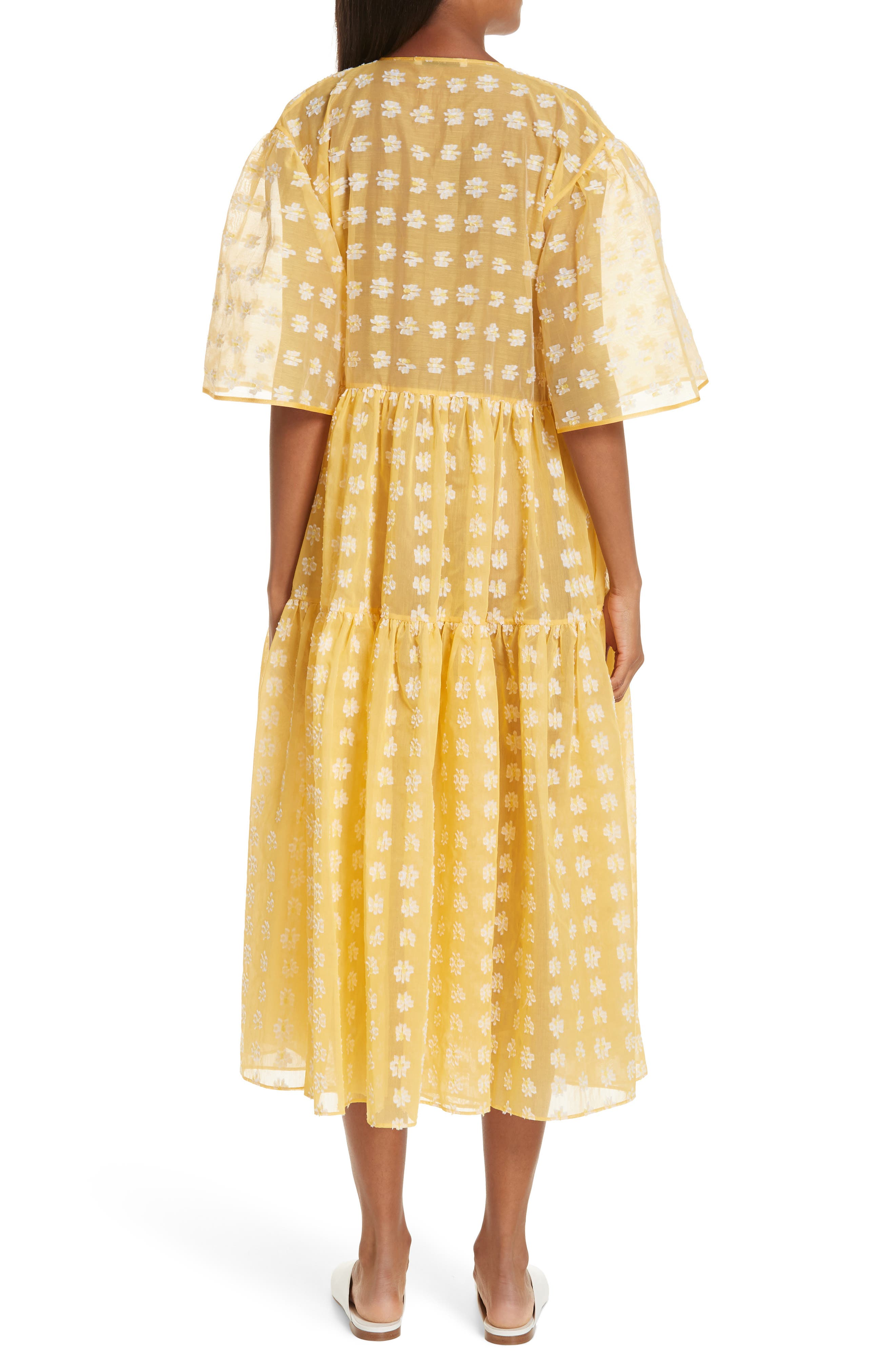 CECILIE BAHNSEN Patricia Wrap Dress in Black/ Yellow
