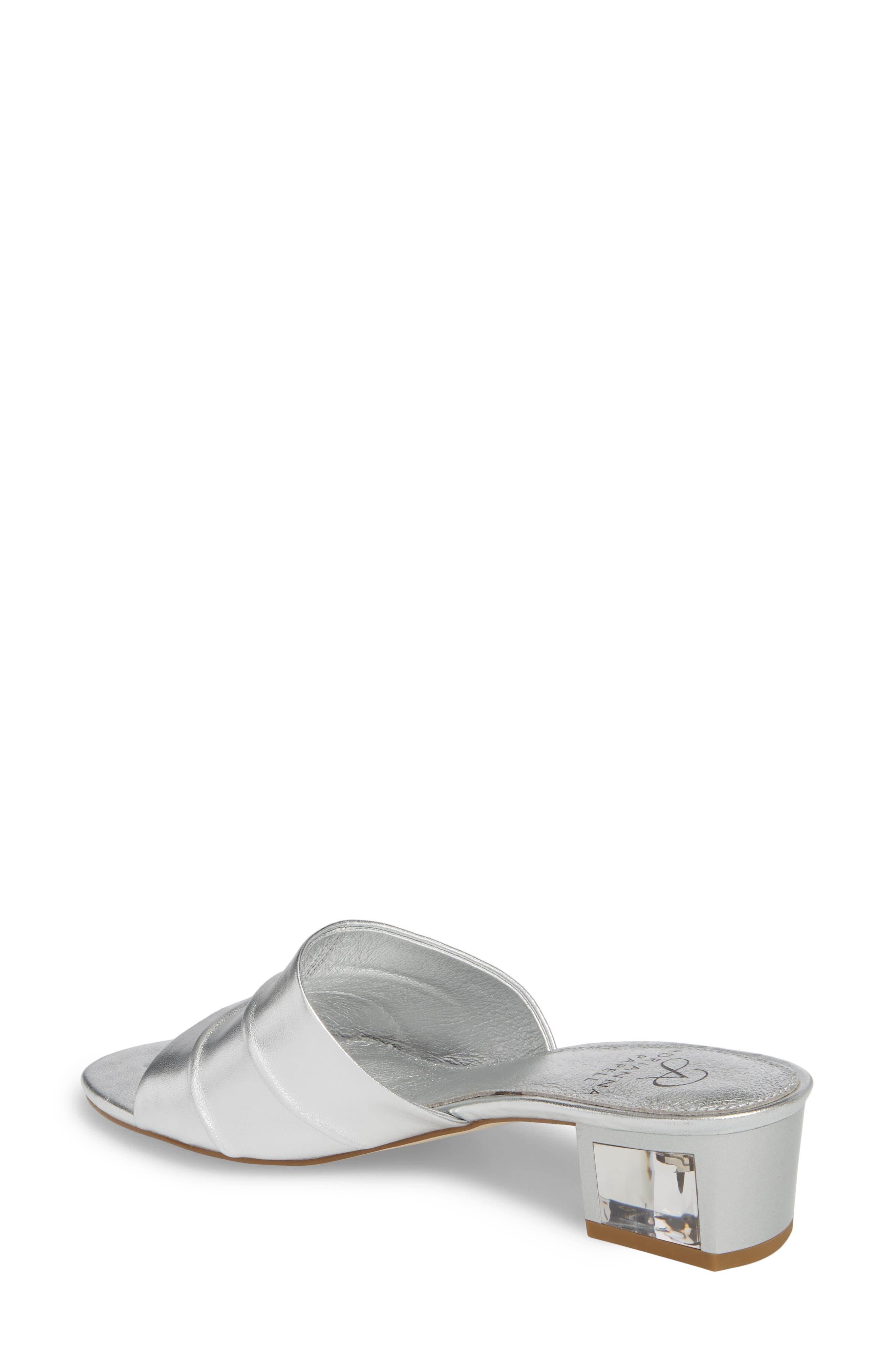 Tiana Block Heel Slide Sandal,                             Alternate thumbnail 2, color,                             SILVER LEATHER
