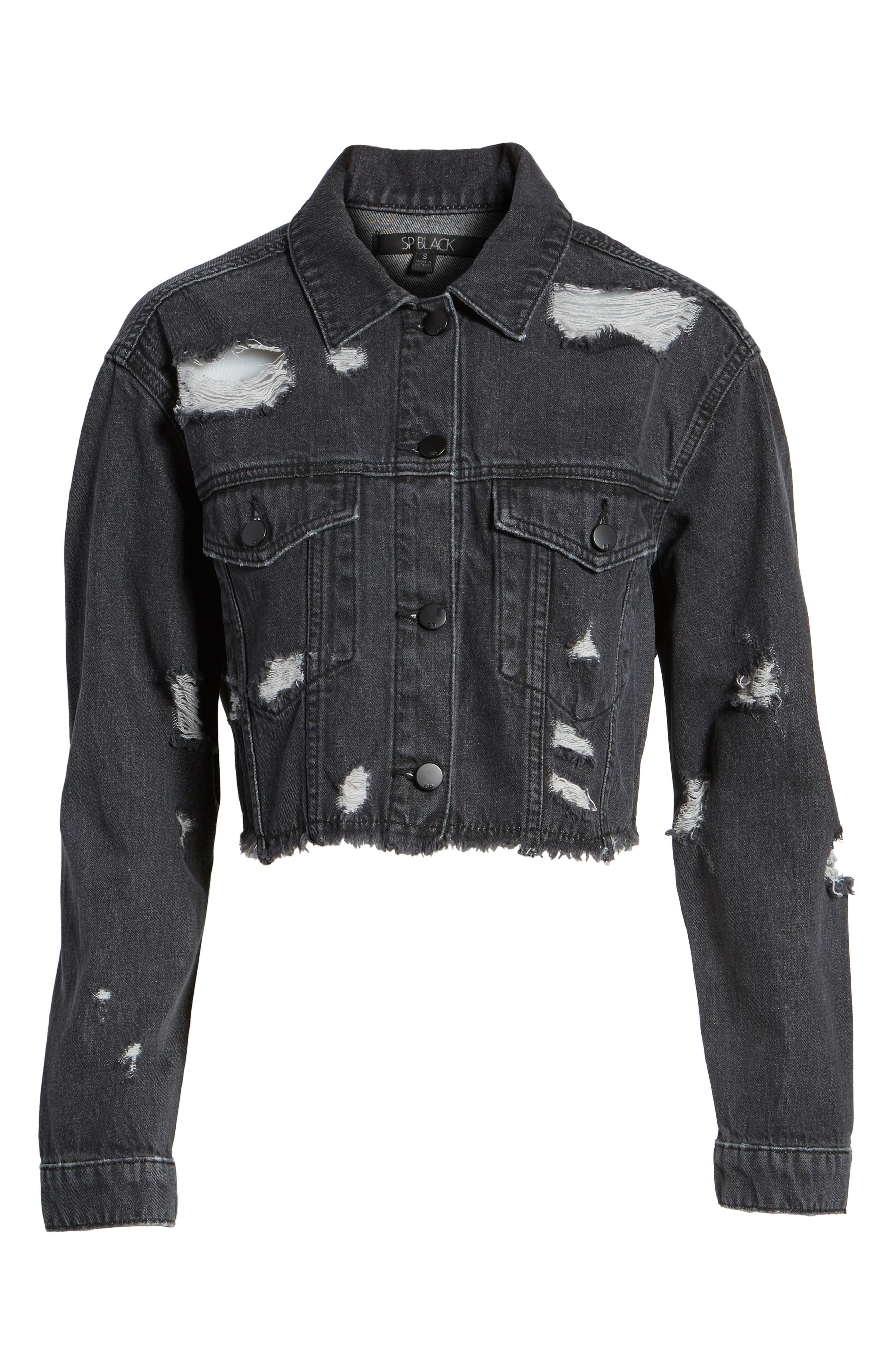 Shredded Crop Denim Jacket,                             Alternate thumbnail 5, color,                             001