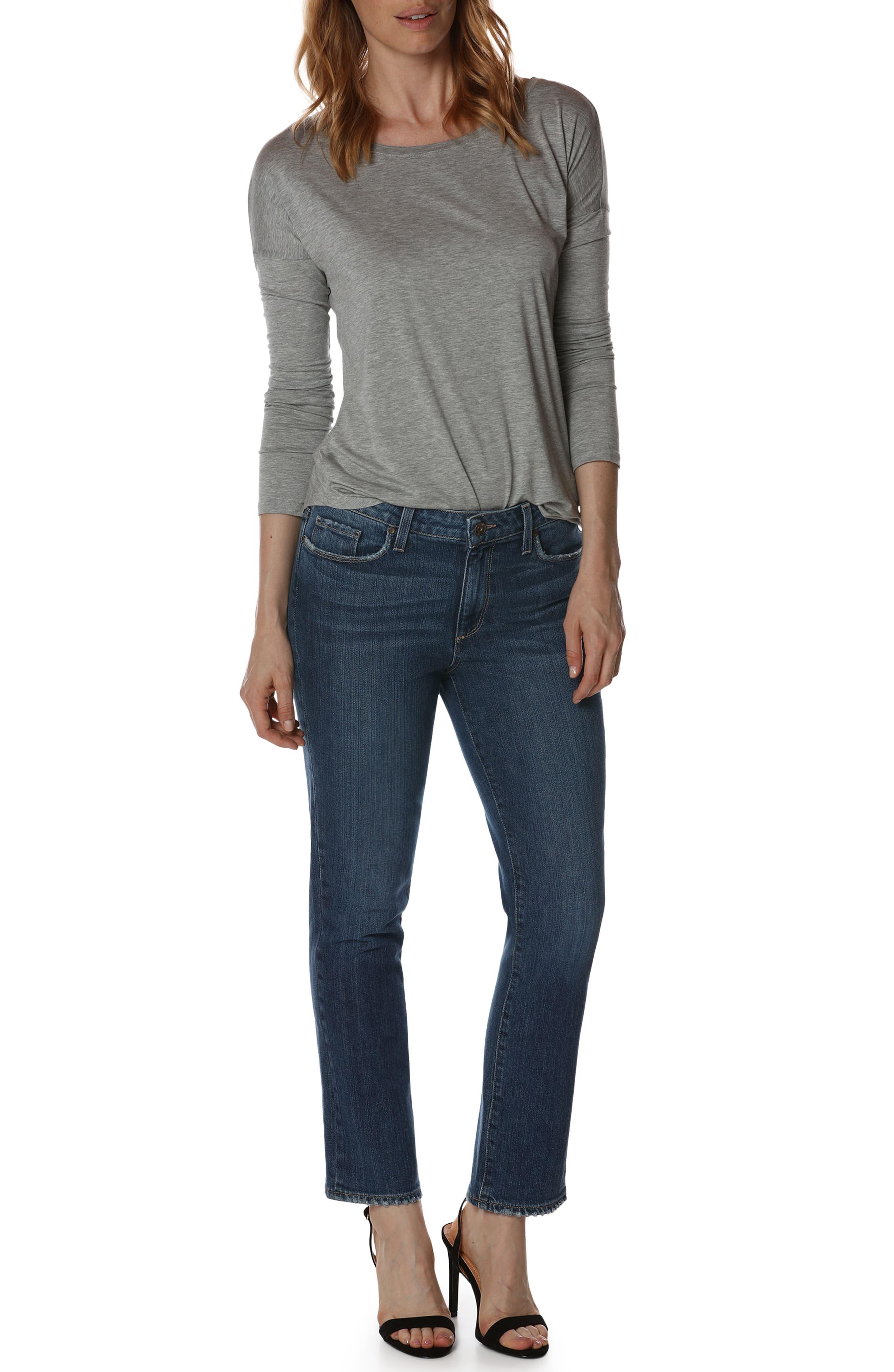 Jacqueline High Waist Ankle Straight Leg Jeans,                             Alternate thumbnail 3, color,