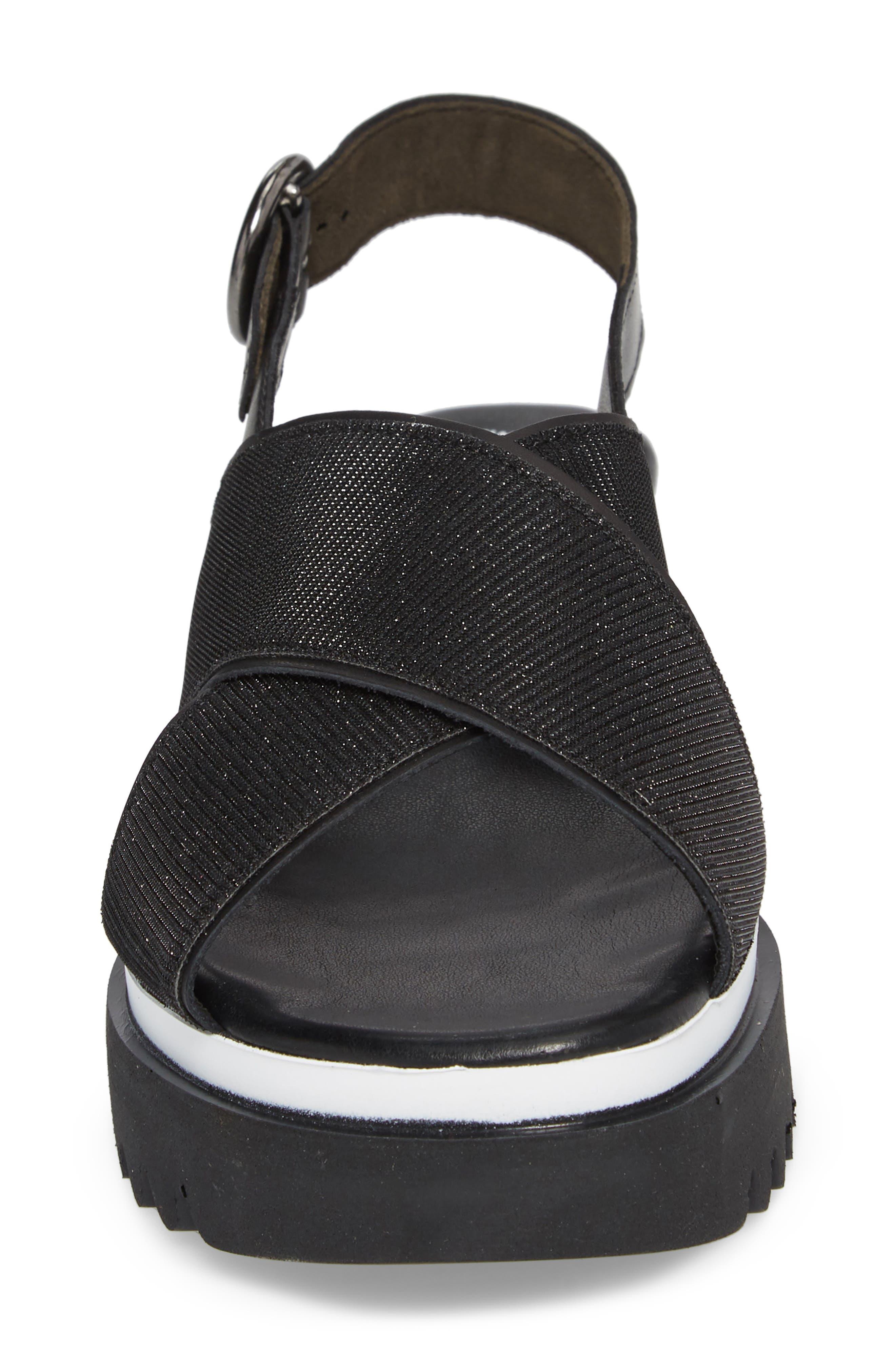 Crossover Strap Platform Sandal,                             Alternate thumbnail 4, color,                             BLACK LEATHER