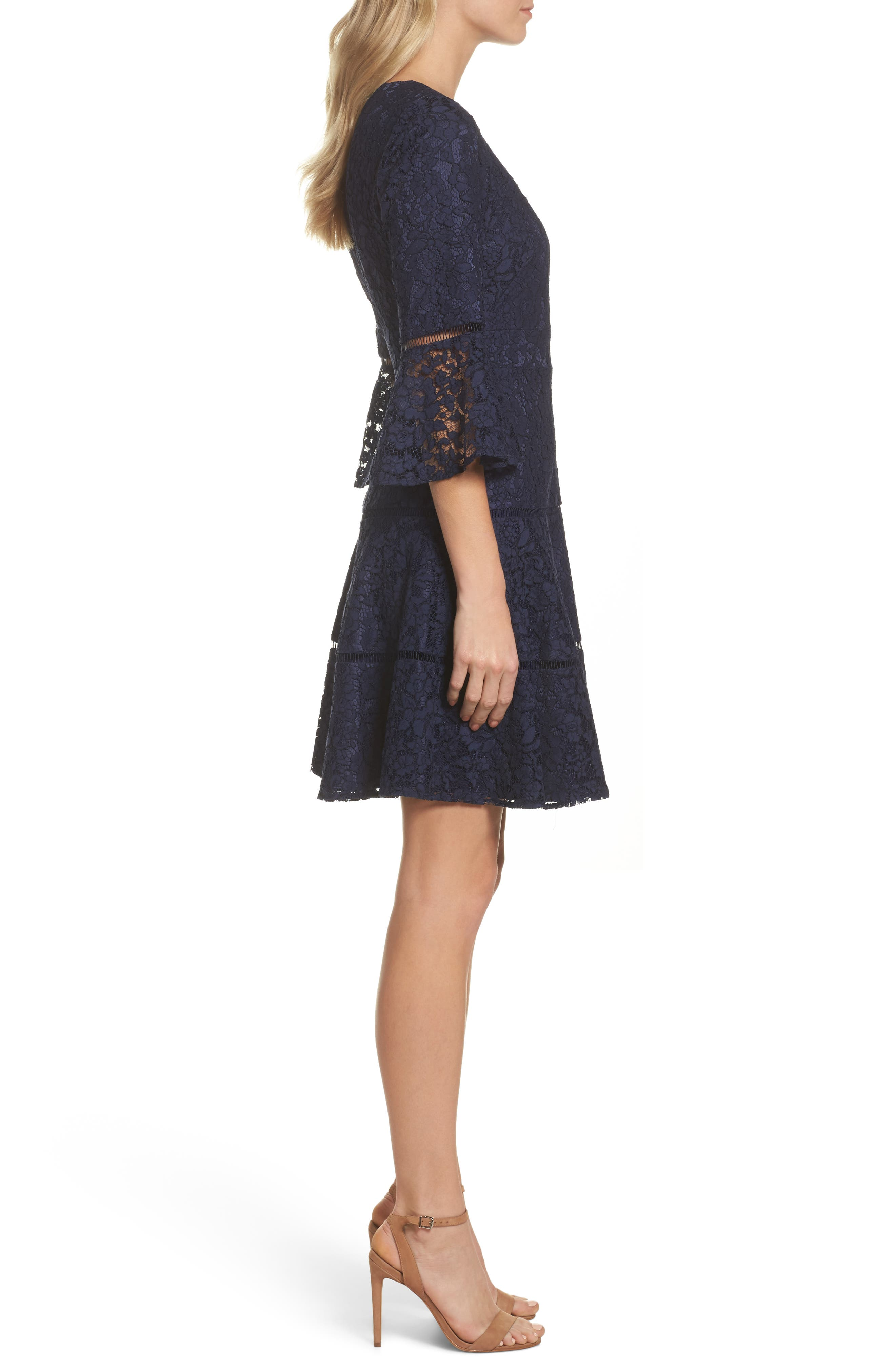 Bell Sleeve Lace Fit & Flare Dress,                             Alternate thumbnail 5, color,