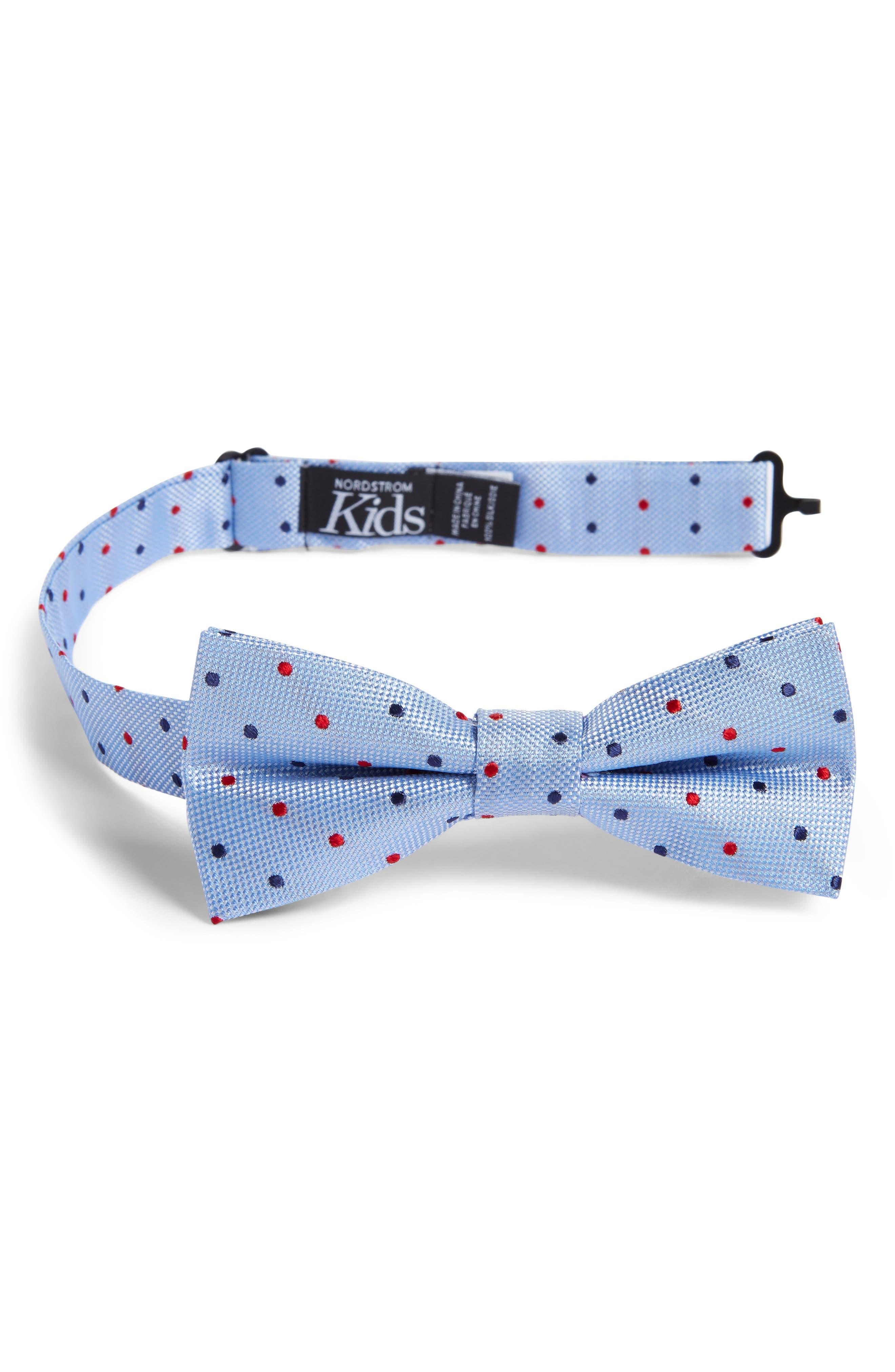 Double Dot Silk Bow Tie,                             Main thumbnail 1, color,                             BLUE